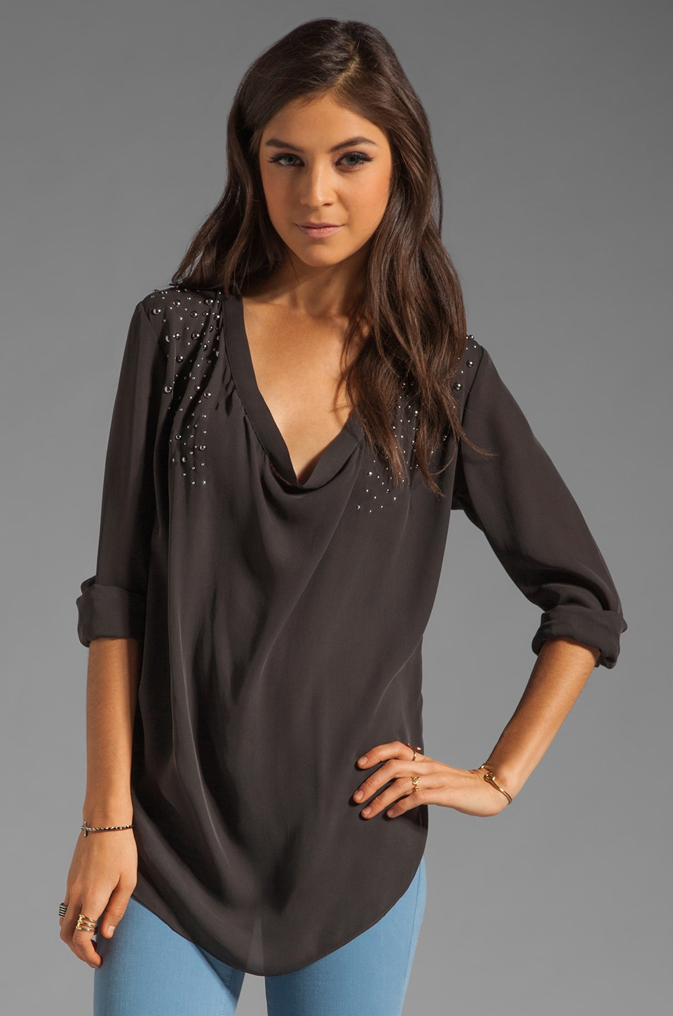 Haute Hippie Embellished Blouse in Asphalt