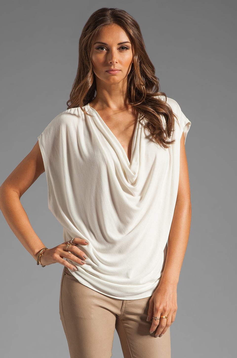 Haute Hippie Drape Front Tee with Silk Back in Swan