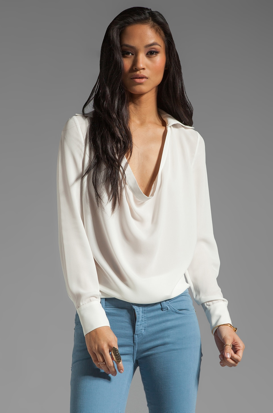 Haute Hippie Cowl Blouse in Swan
