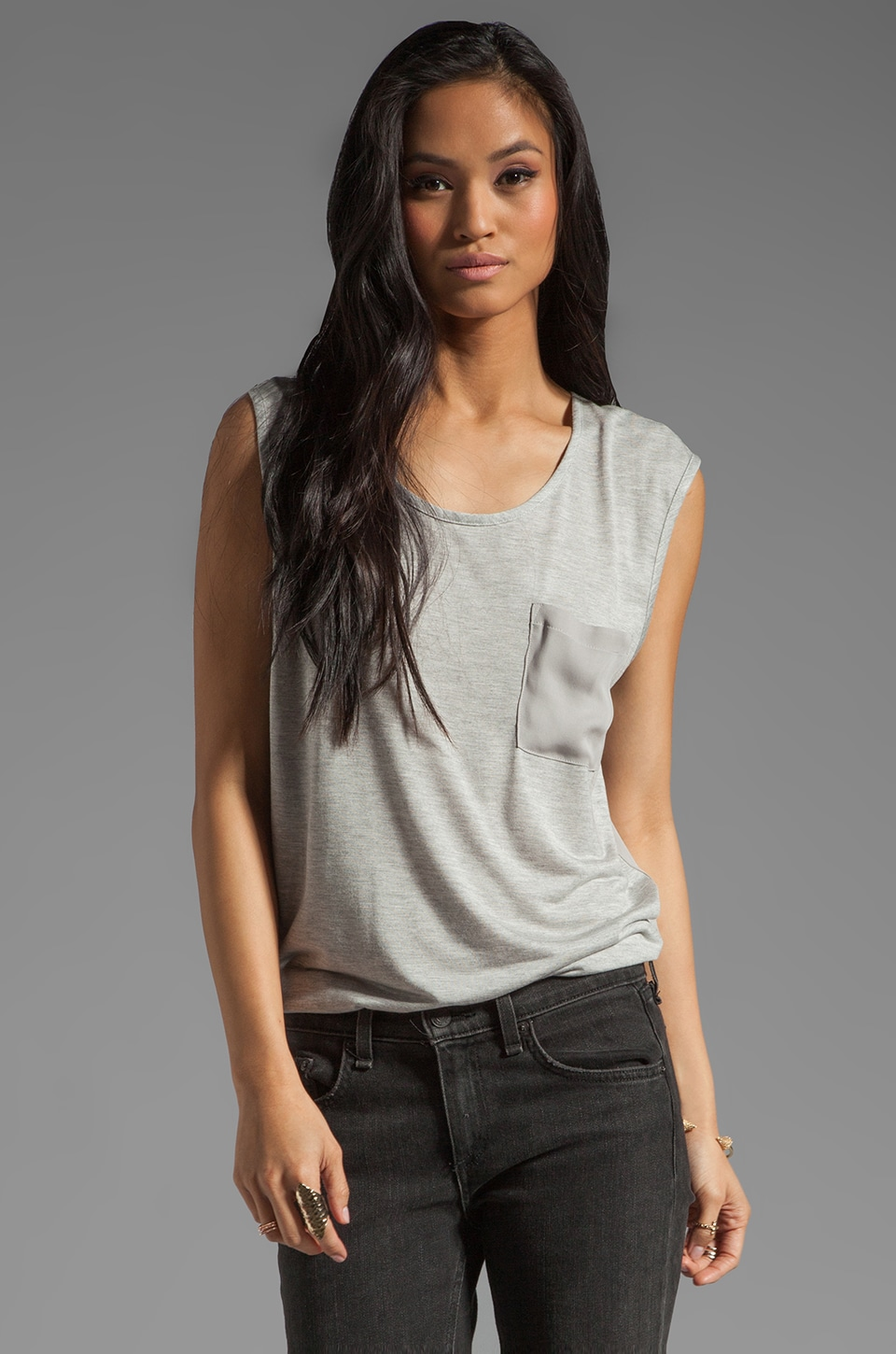 Haute Hippie Tank with Silk Back and Pocket in Light Heather Grey/Smoke