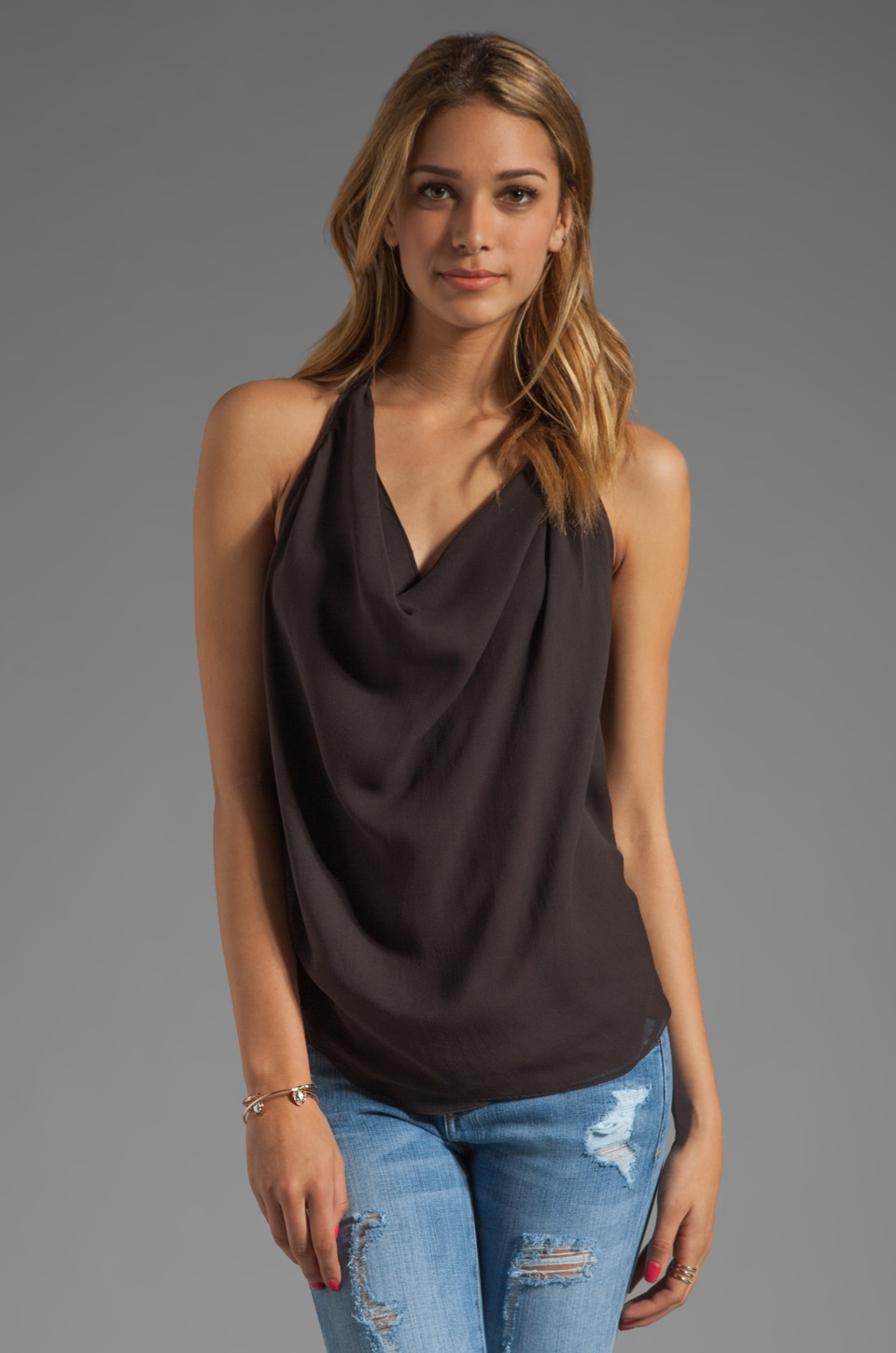 Haute Hippie Criss Cross Back Top in Asphalt