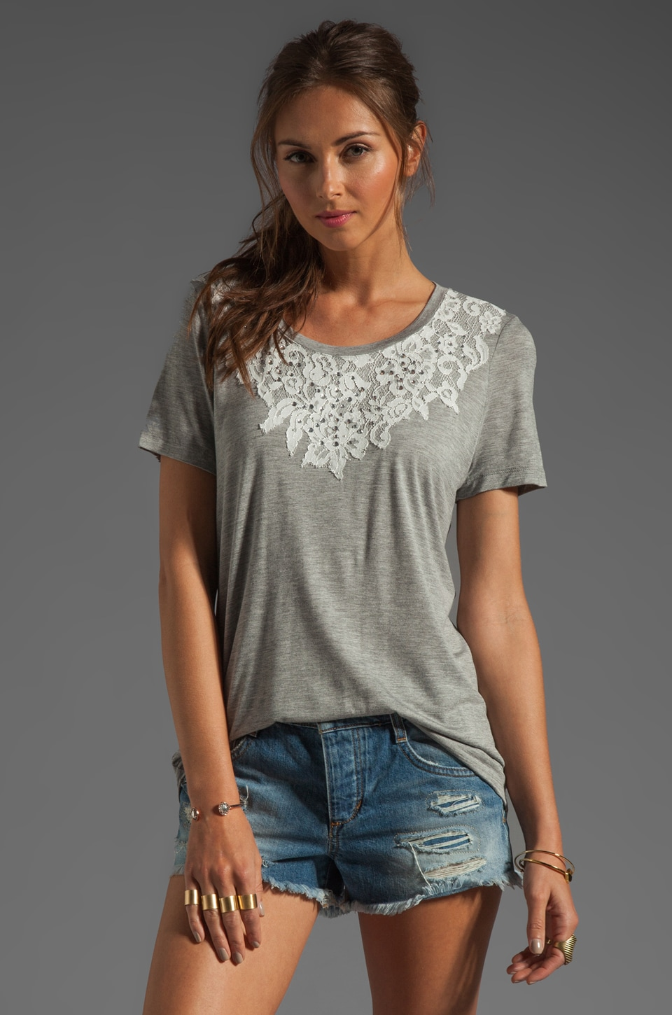 Haute Hippie Crewneck Tee with Lace Detail in Light Heather Grey
