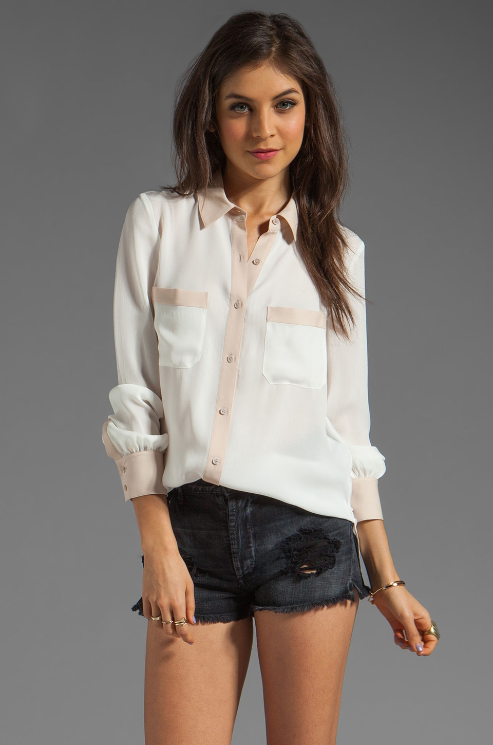 Haute Hippie Colorblocked Blouse in Swan/Buff