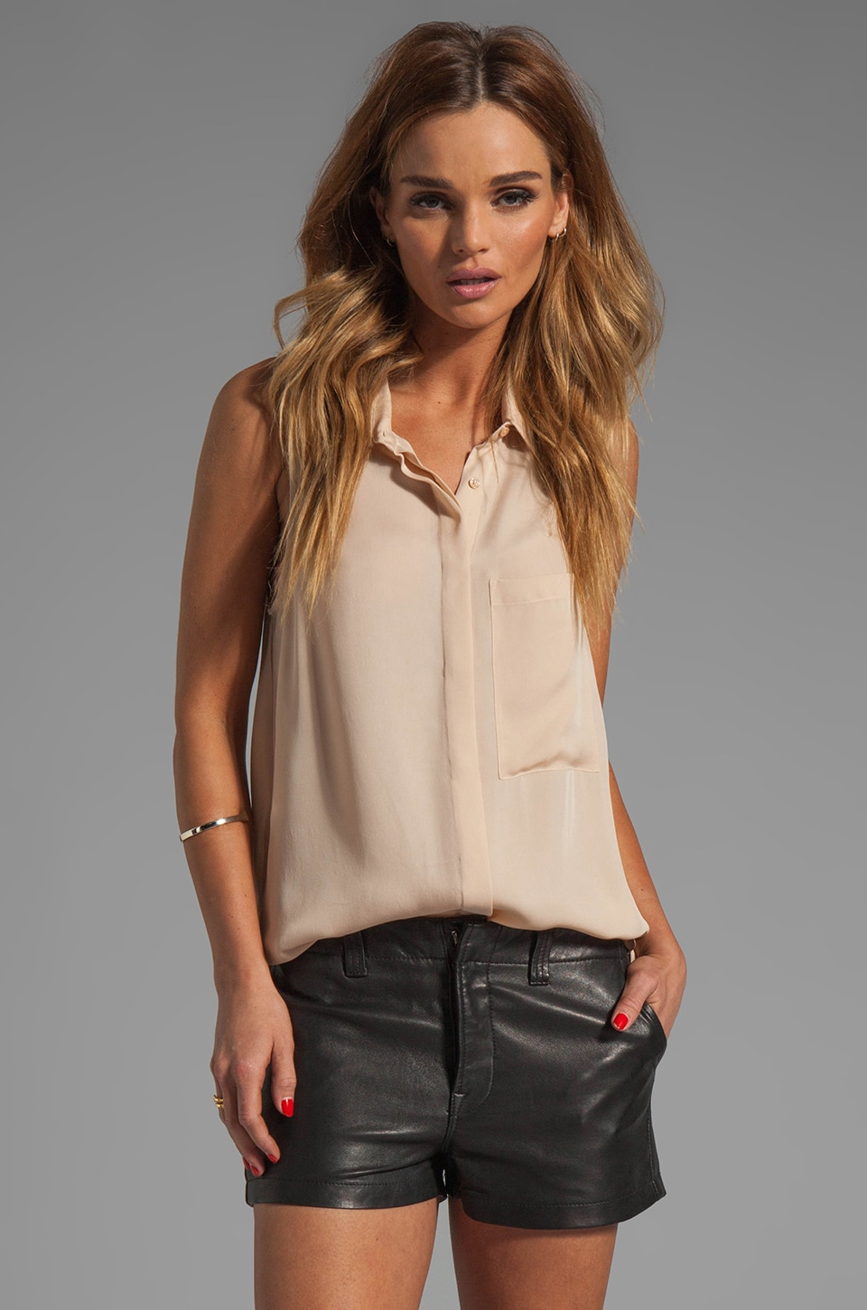 Haute Hippie Sleeveless Button Down Blouse in Vanilla