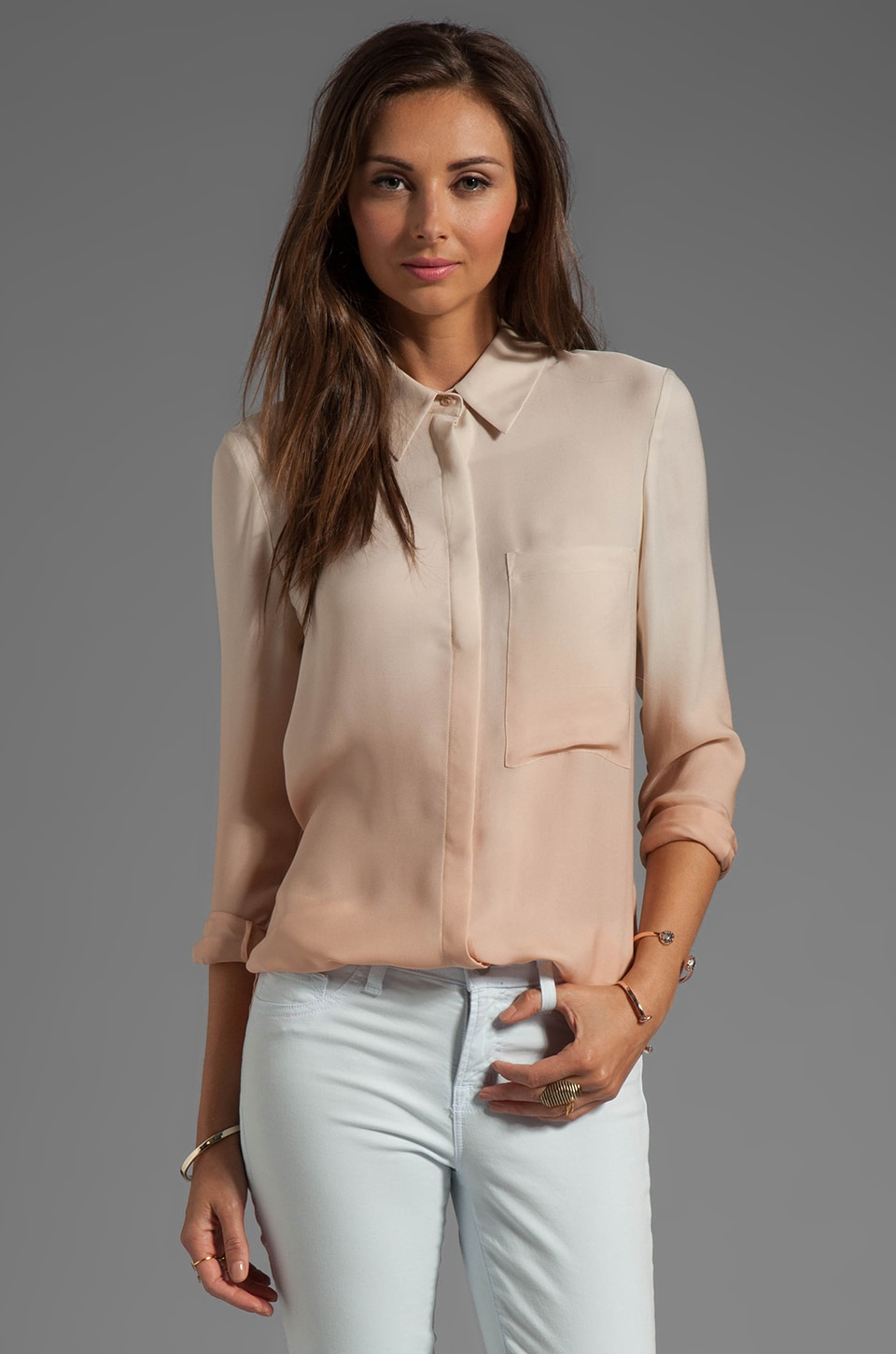 Haute Hippie Button Down Ombre Blouse in Vanilla/Praline