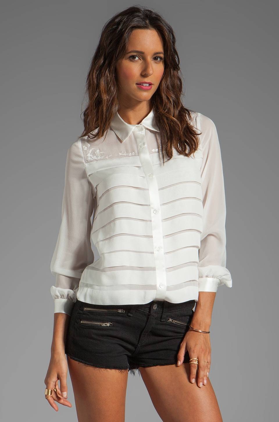 Haute Hippie Blouse with Embroidery and Pleats in Swan