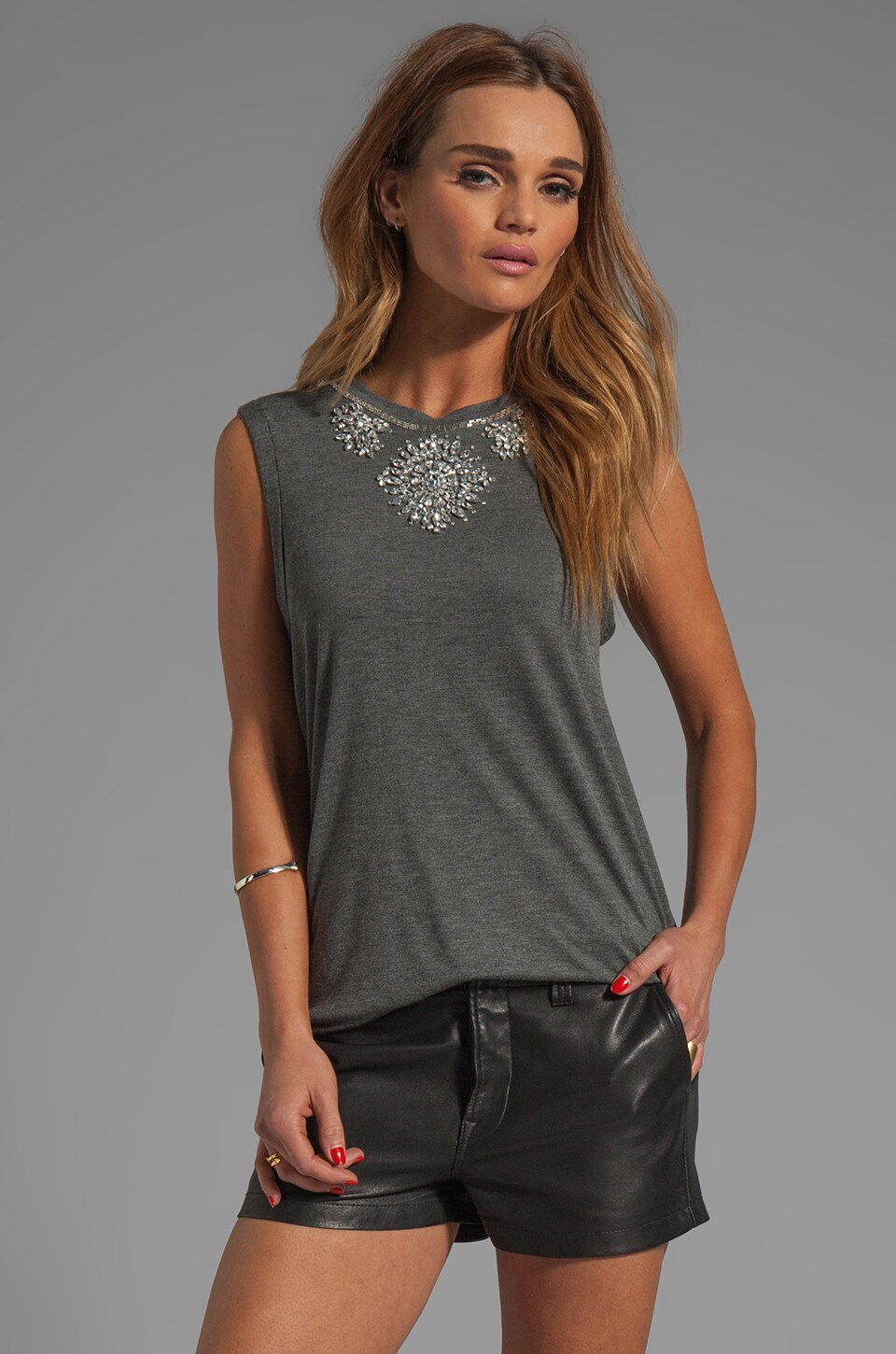 Haute Hippie Embellished Muscle Tee in Charcoal Heather Grey