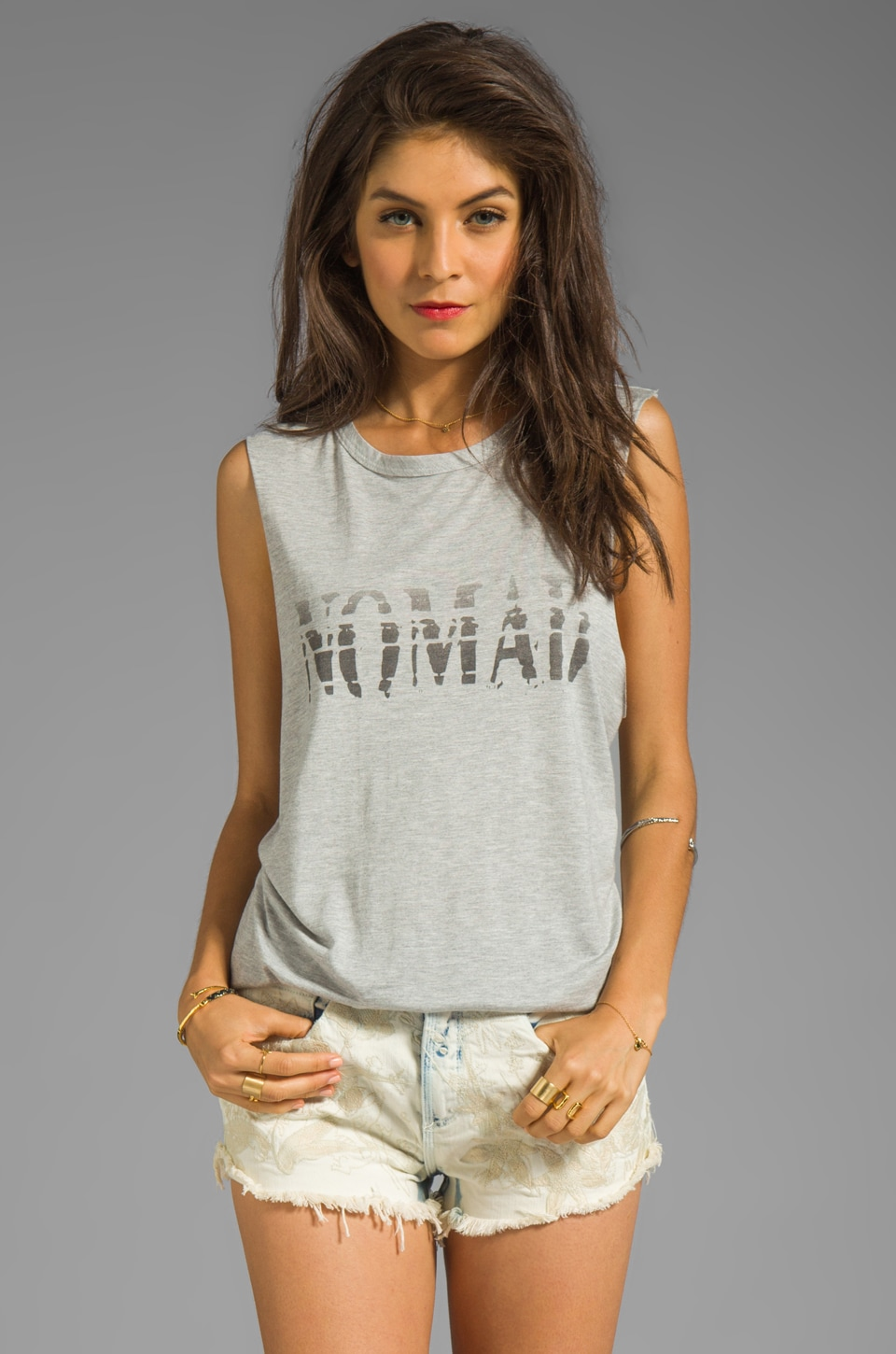Haute Hippie Nomad Ombre Tee in Light Heather Grey and Black