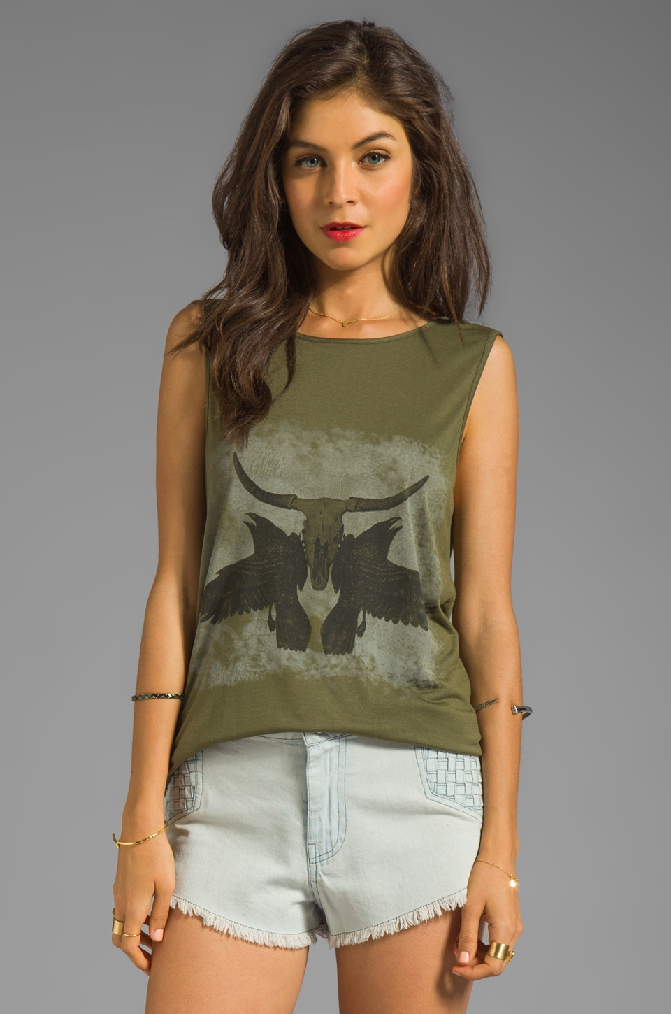 Haute Hippie Ravens and Longhorn Skull Tank in Fatigue and Olive