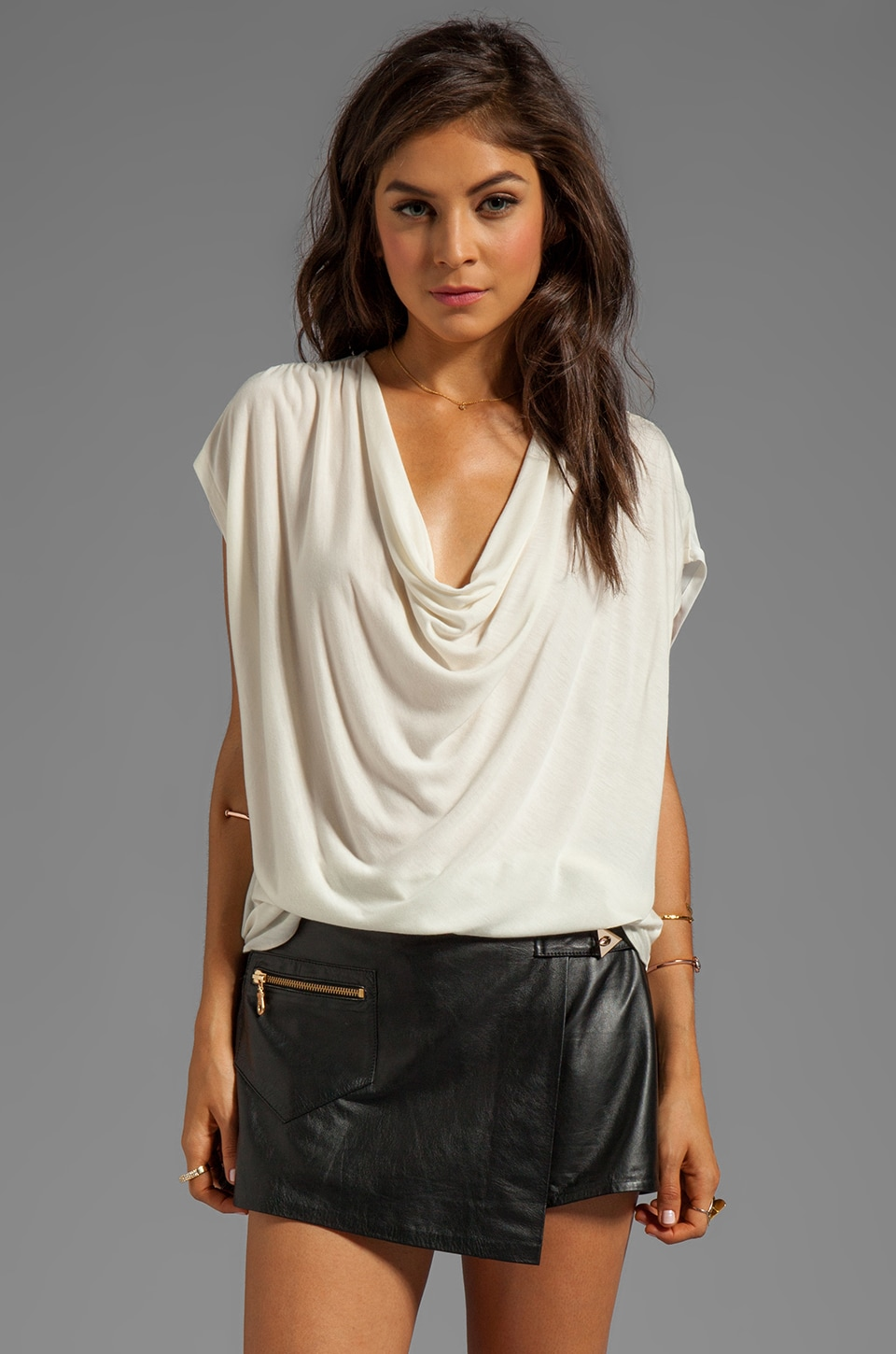 Haute Hippie Drape-Front Tee with Silk Back in Swan