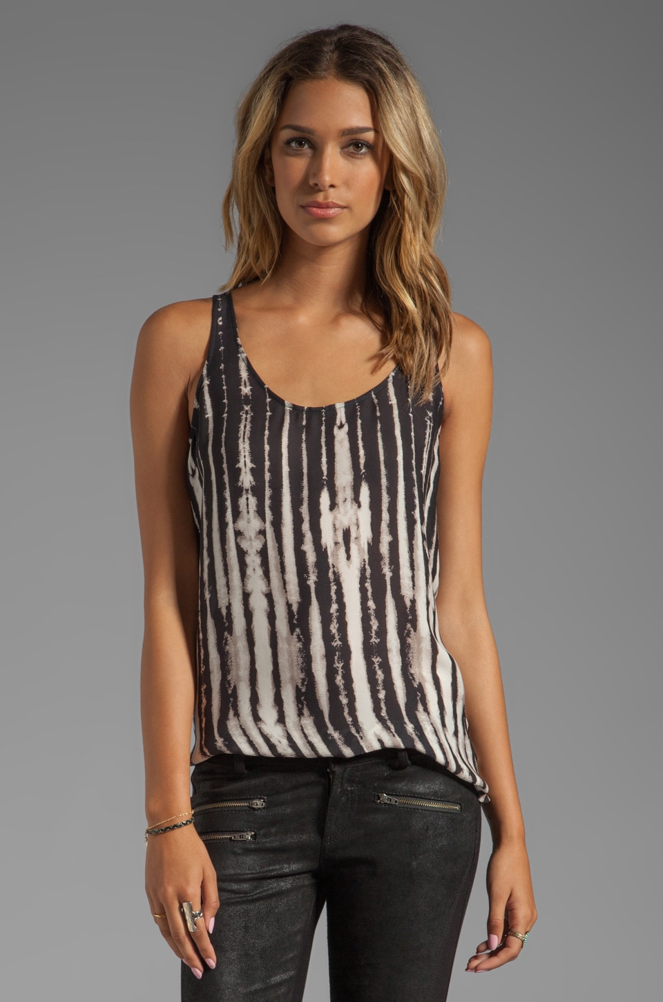 Haute Hippie Silk Tank with Solid Chiffon Back in Swan/Black
