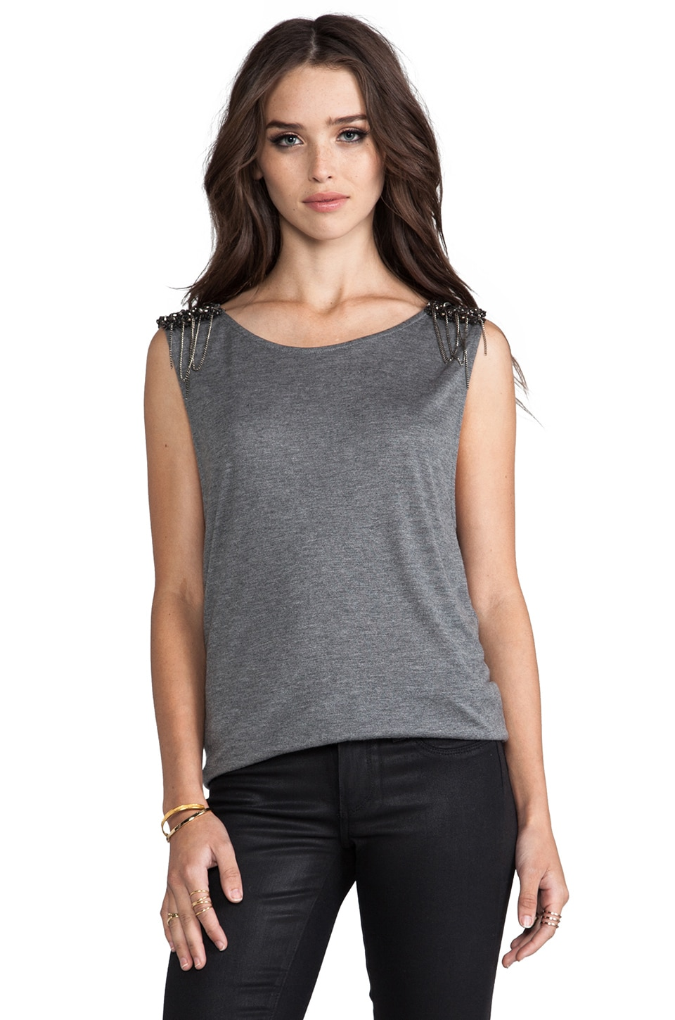 Haute Hippie Muscle Tee with Embellished Shoulders in Charcoal Grey