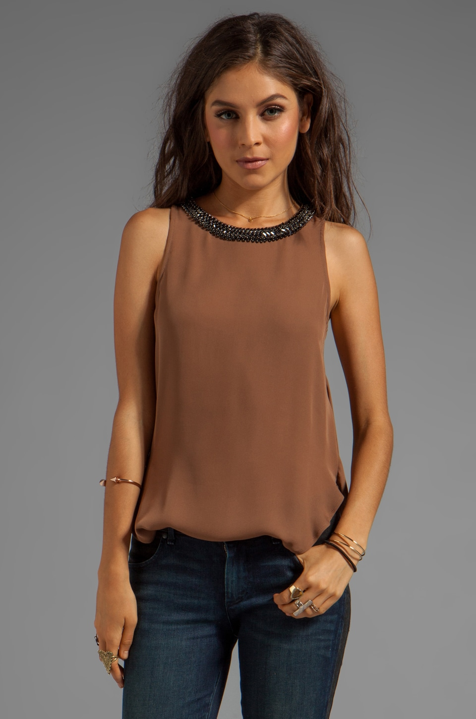 Haute Hippie Blouse with Cowl Back in Fig/Black