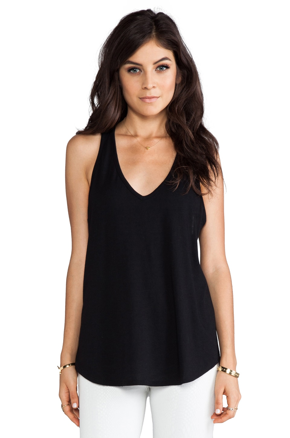 Haute Hippie V Neck Racerback Tank in Black