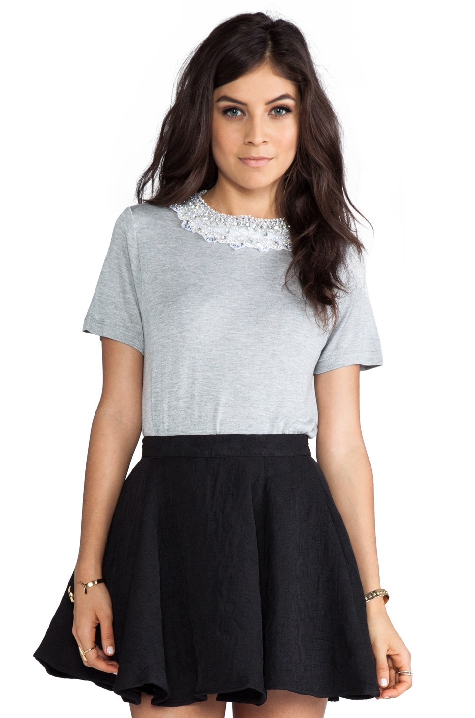 Haute Hippie Embellished Crew Neck Tee in Light Heather Grey/Crystal