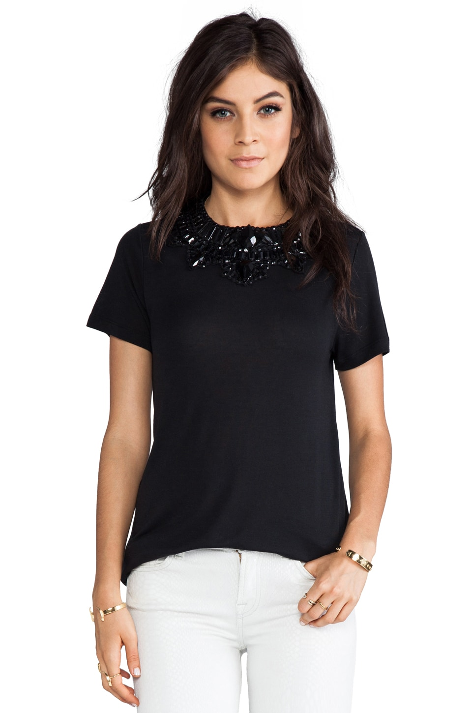 Haute Hippie Embellished Crewneck Tee in Black