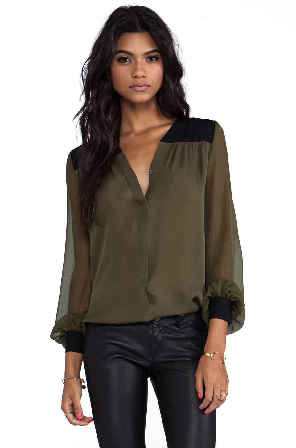 Haute Hippie Colorblock Blouse in Military & Black