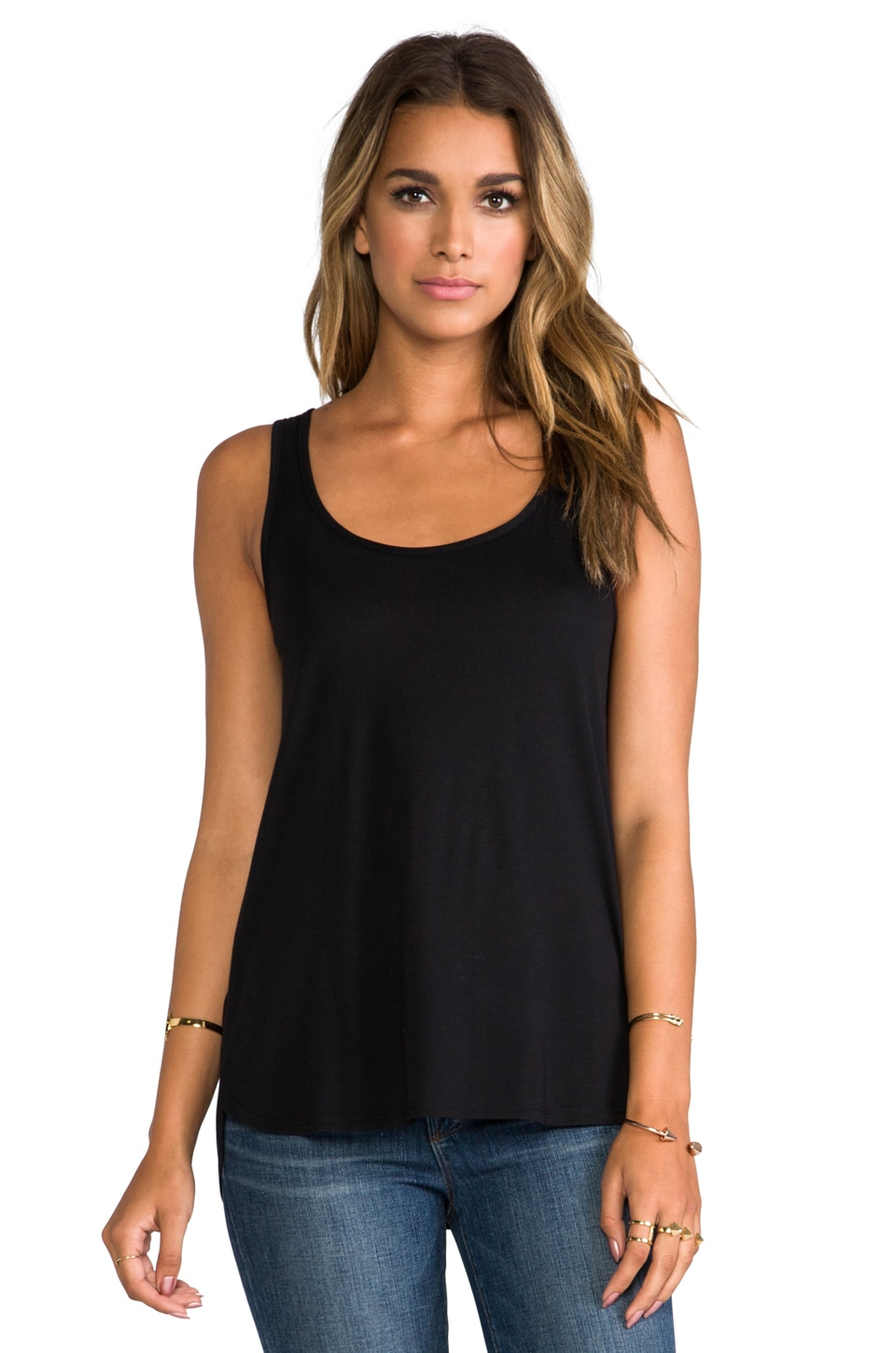 Haute Hippie Tank with Overlapped Back in Black