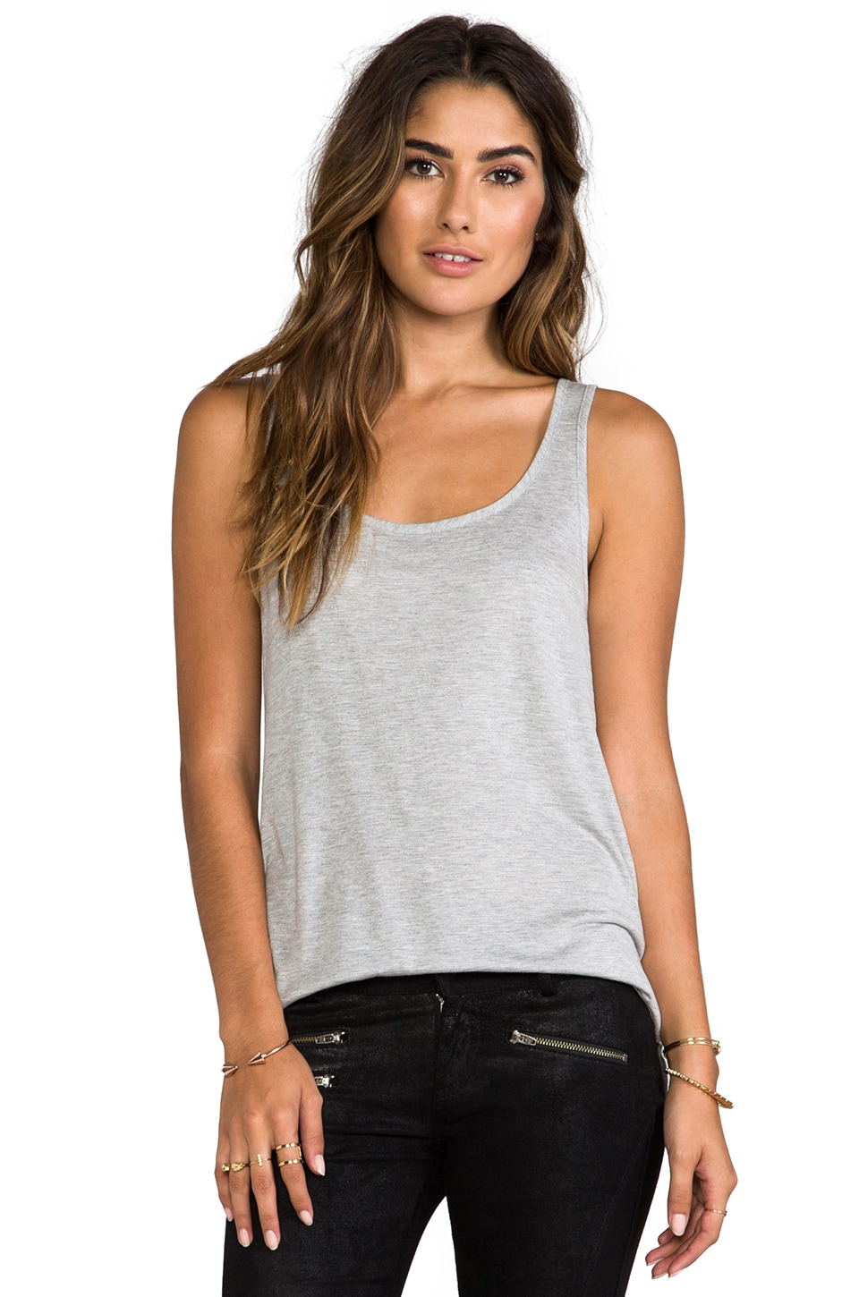 Haute Hippie Tank with Overlapped Back in Light Heather Grey