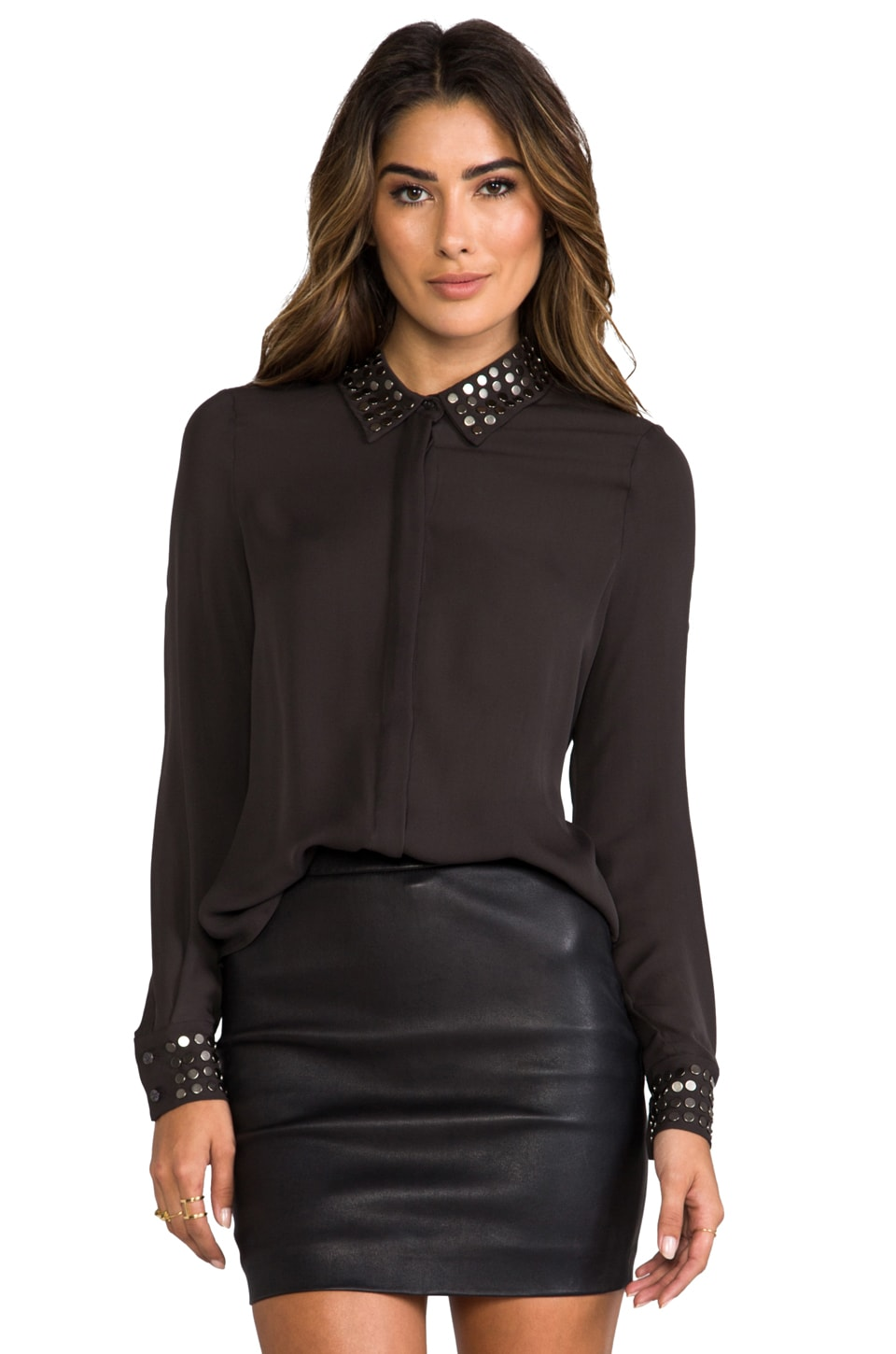 Haute Hippie Cowl Back Button Down Blouse in Carbon