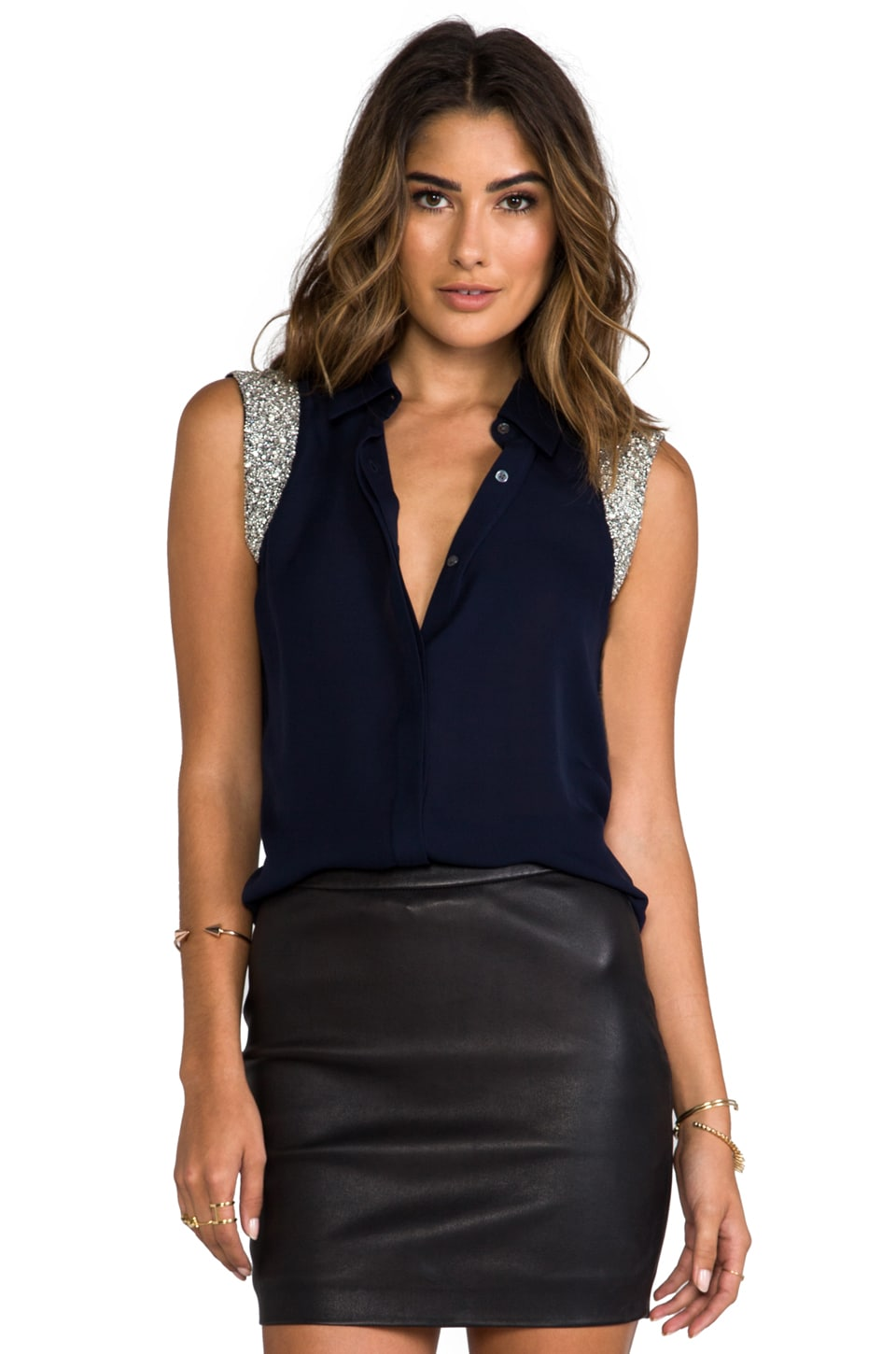 Haute Hippie Collared Blouse with Embellished Cap Sleeves in Midnight