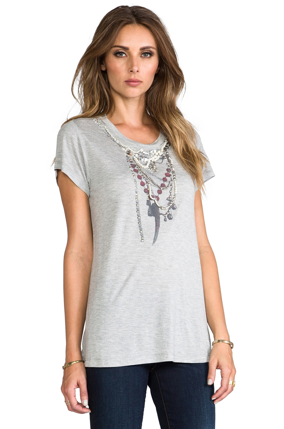 Haute Hippie Traveler Necklace Tee in Light heather Grey