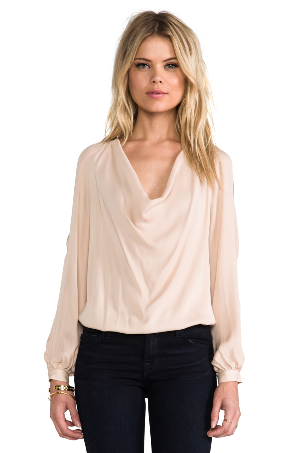 Haute Hippie Open Shoulder Silk Blouse in Buff