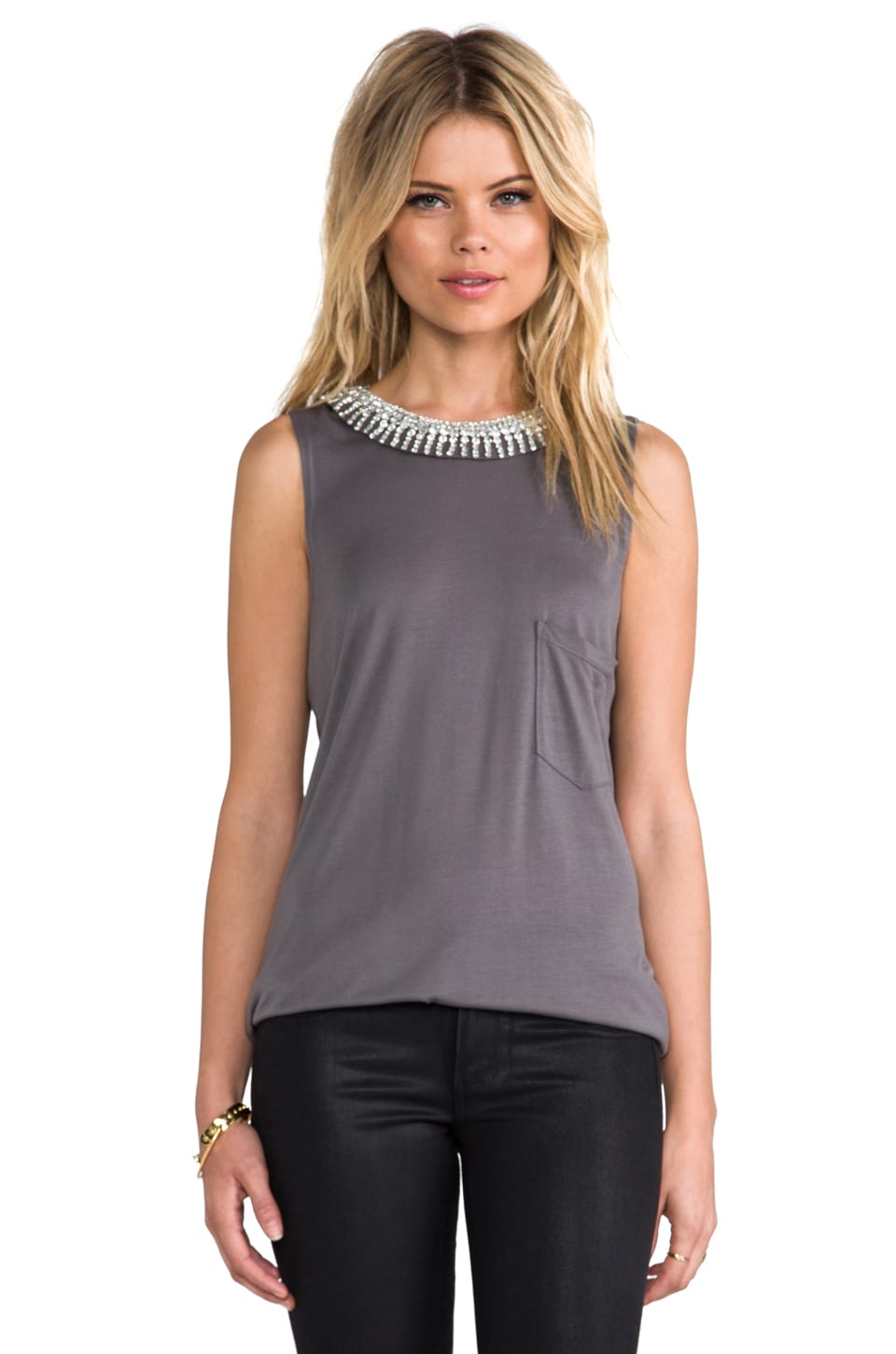 Haute Hippie Muscle Tank with Embellished Neck in Graphite & Crystal