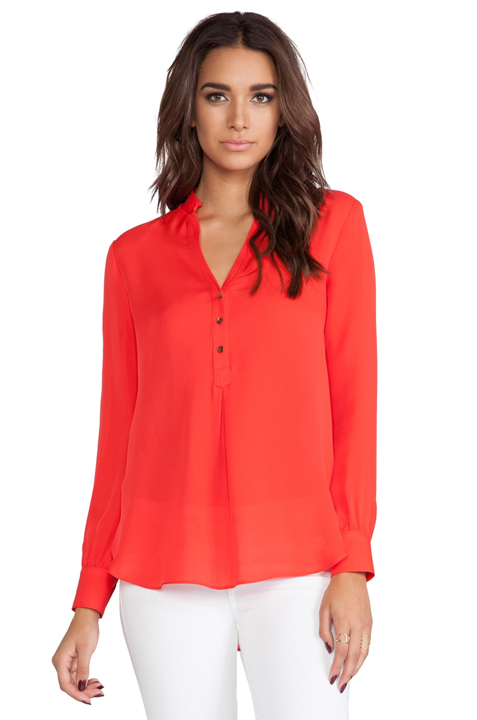 Haute Hippie Silk Henley Blouse in Paprika