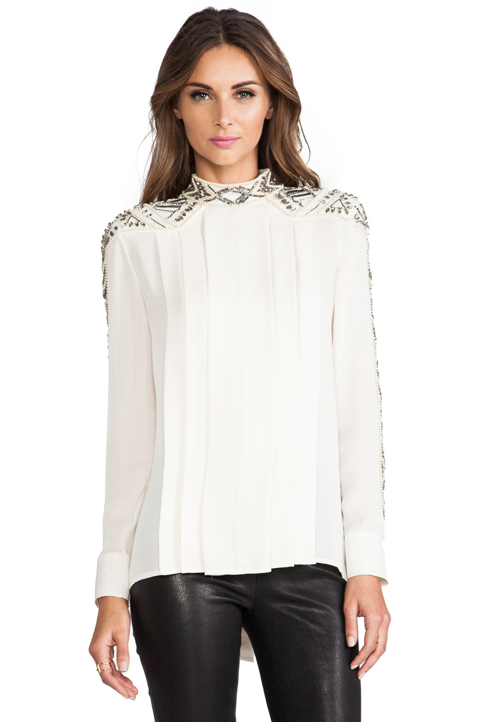 Haute Hippie Embellished Pleated Blouse in Swan & Pearl & Black Diamond