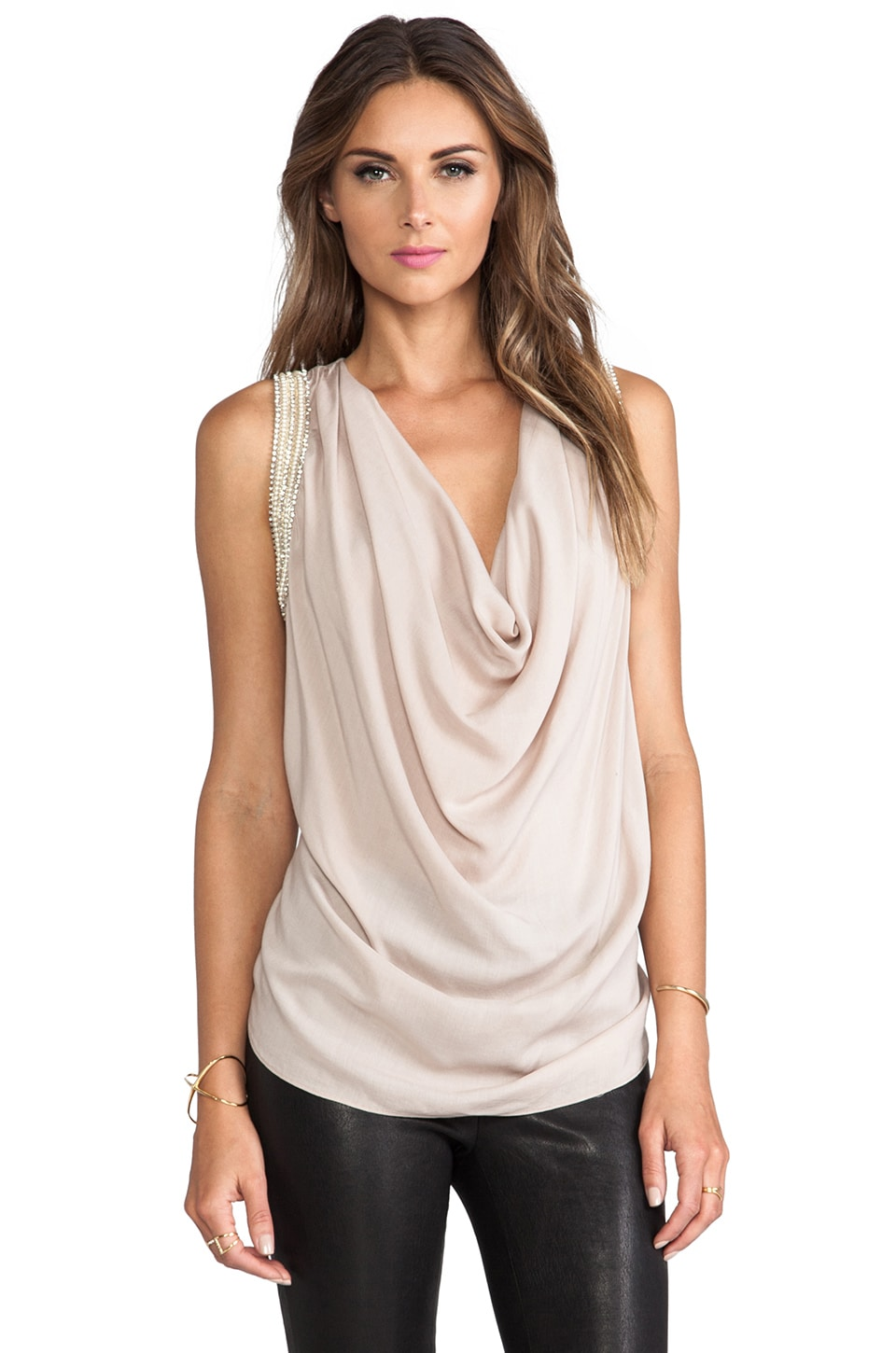 Haute Hippie Embellished Muscle Cowl Neck Tank in Buff & Pearl