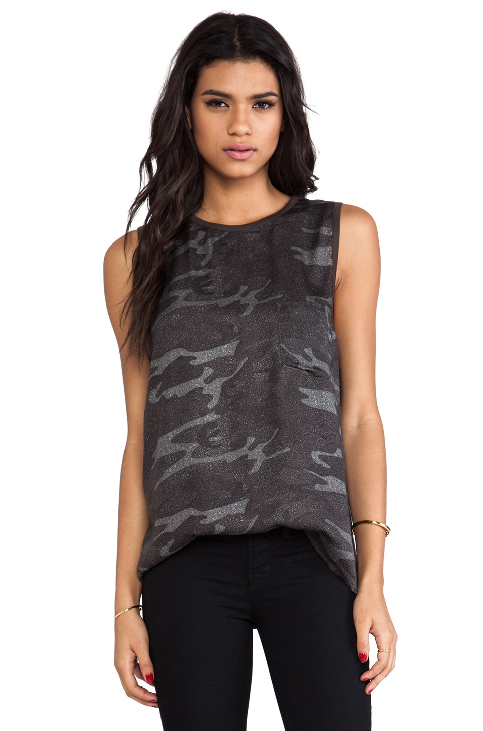Haute Hippie Leather Trim Muscle Tank in Camo Multi