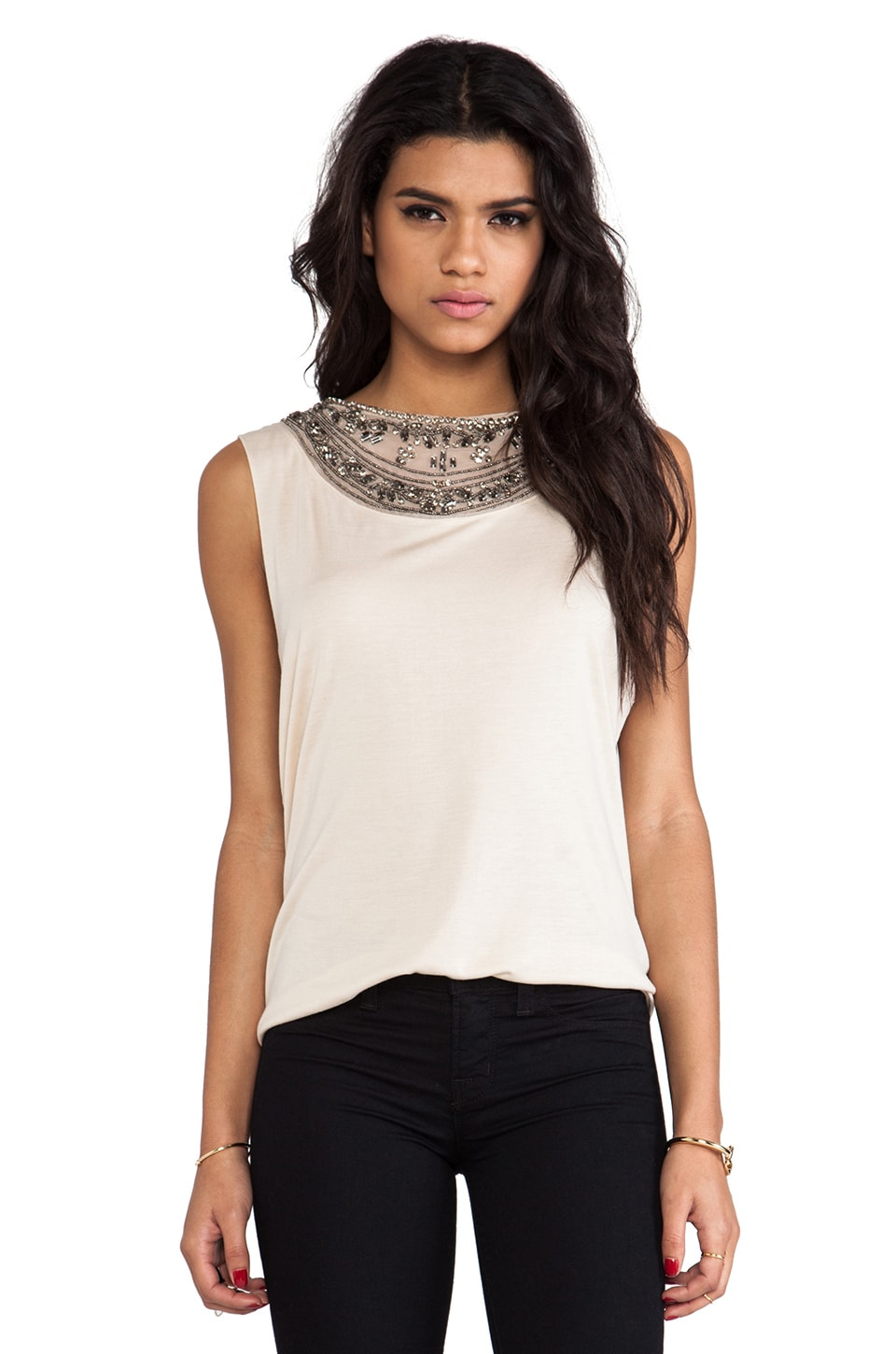 Haute Hippie Embellished Muscle Tank in Buff