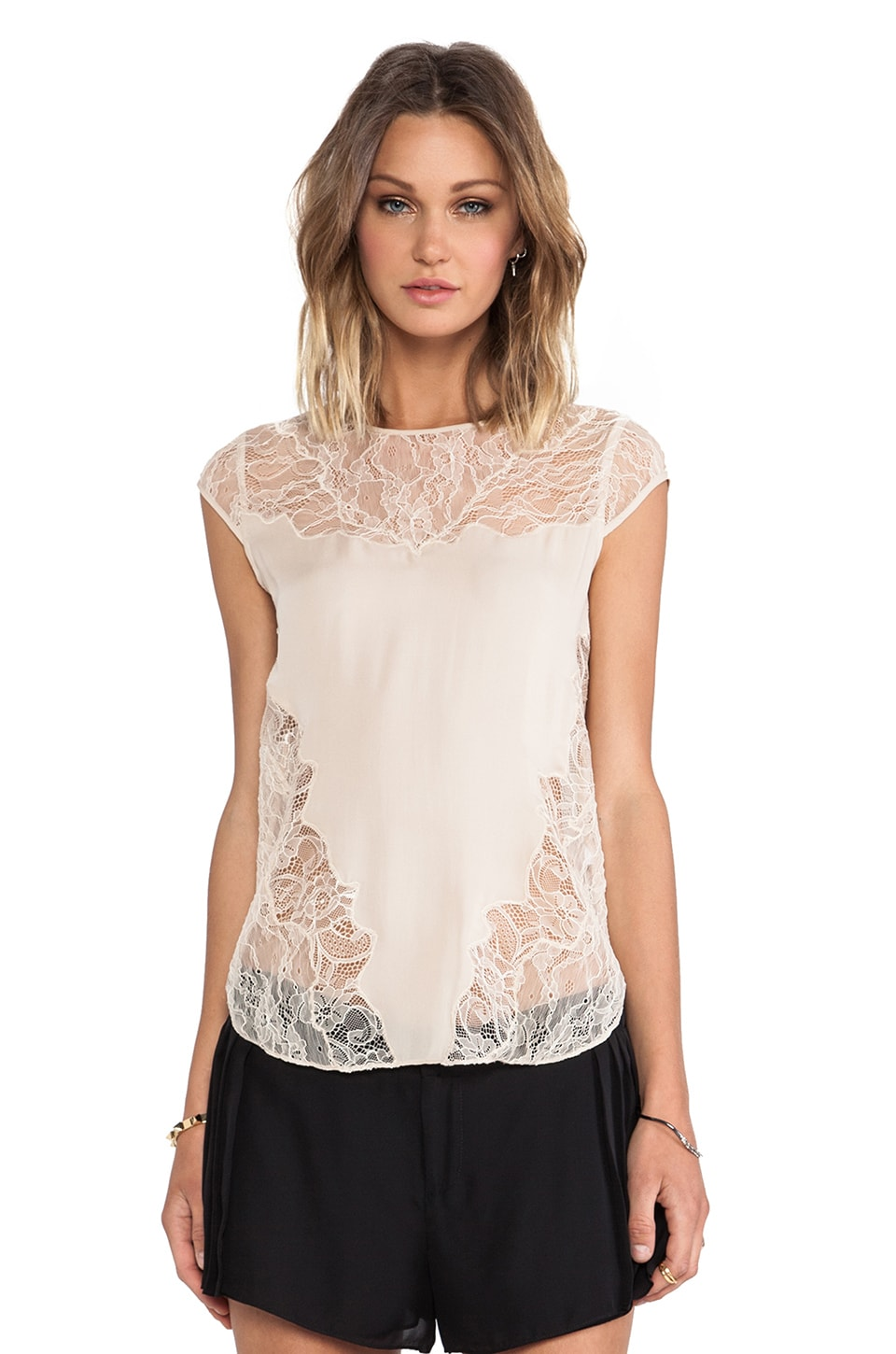 Haute Hippie Chiffon Tee in Buff/Buff Lace