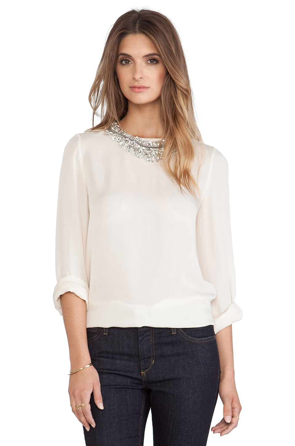 Haute Hippie Long Sleeve Blouse with Detachable Neck Piece