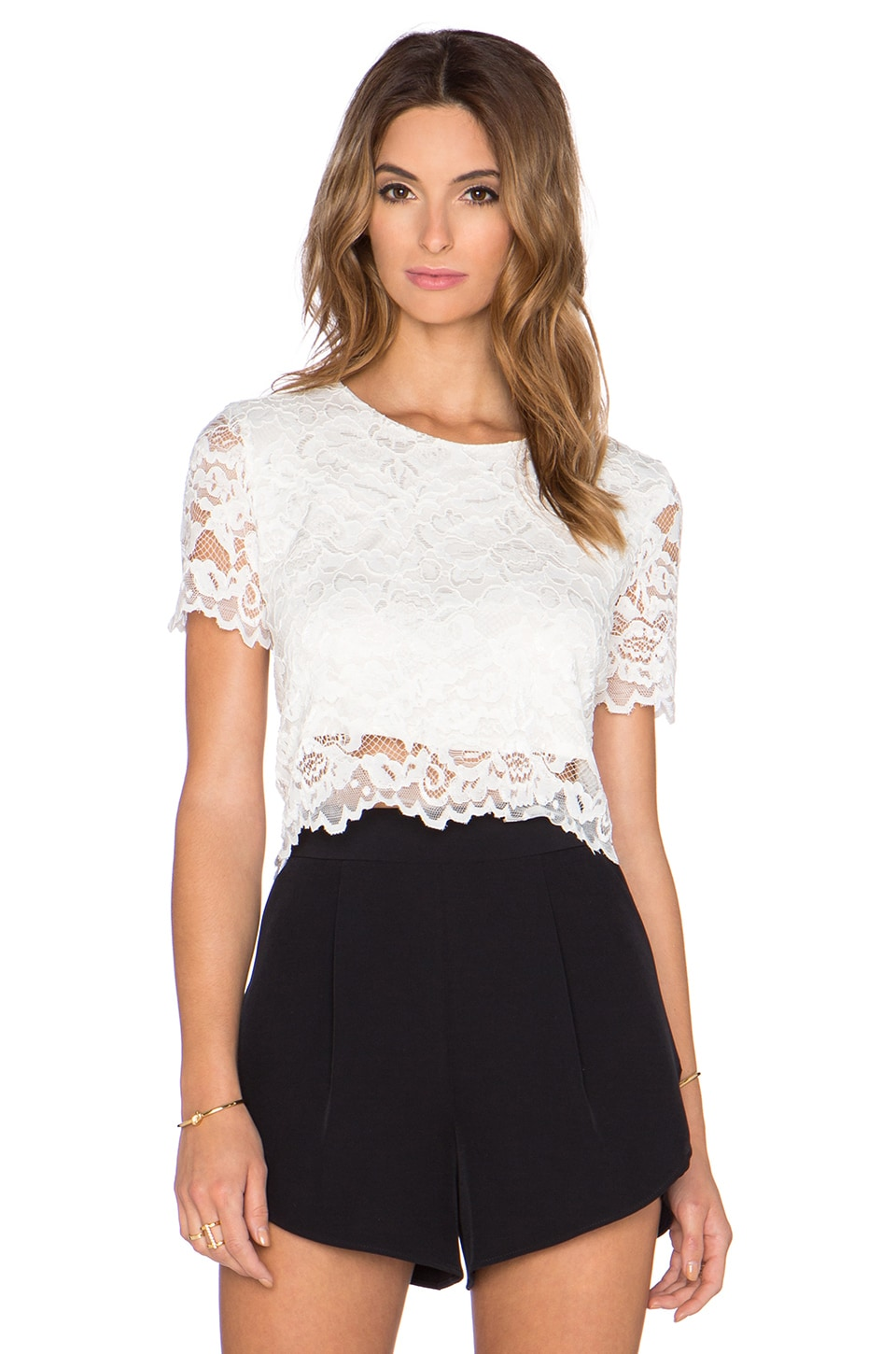 Haute Hippie Lace Crop Top in Swan