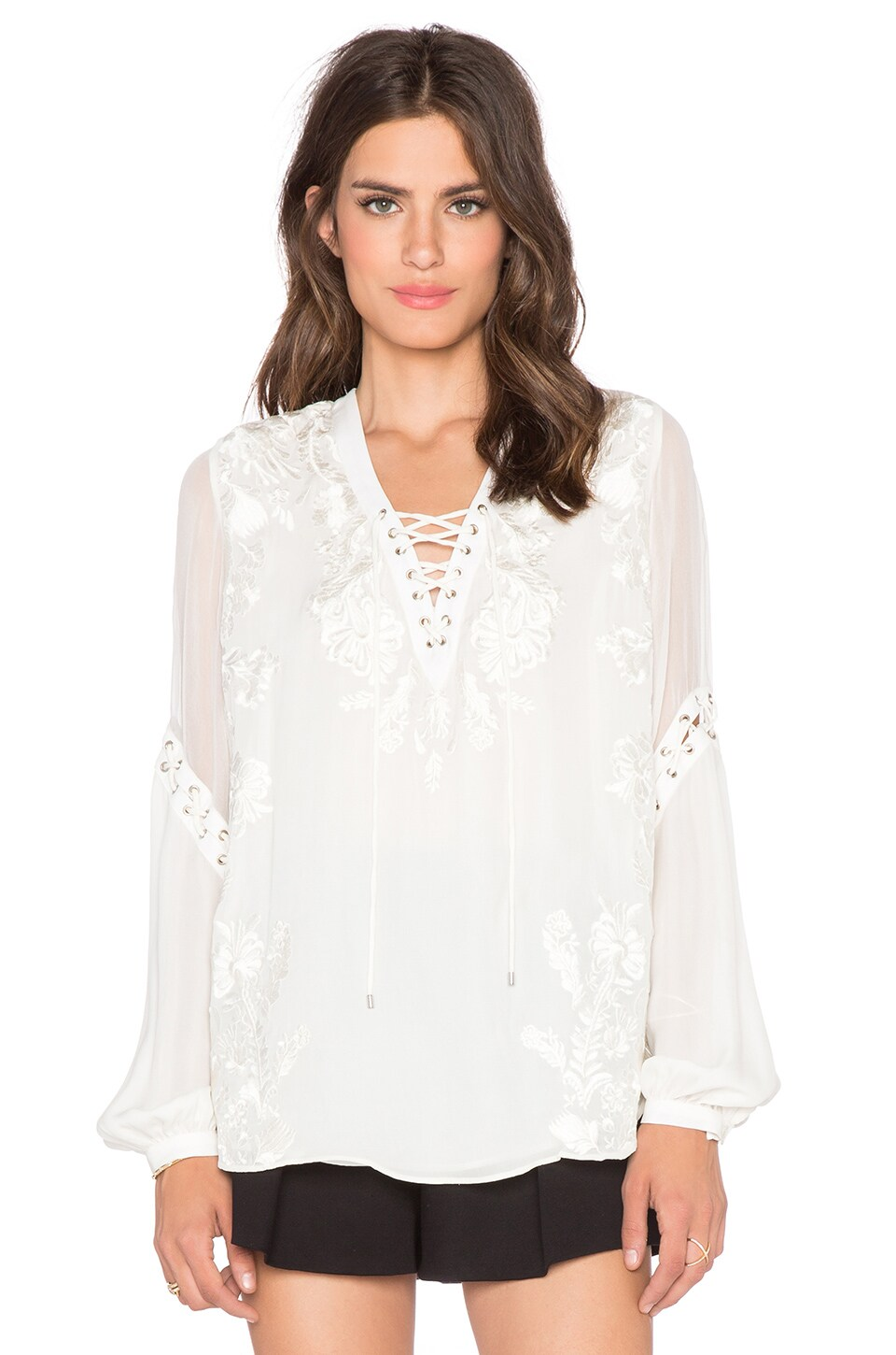 Haute Hippie Lace Up Front Blouse in Swan | REVOLVE