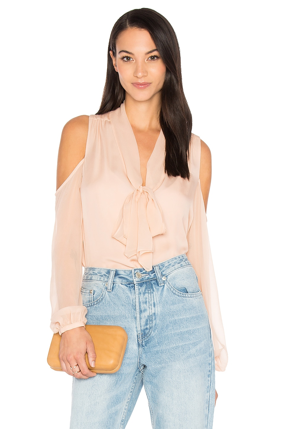 Haute Hippie The Vida Cold Shoulder Blouse in Pale Pink