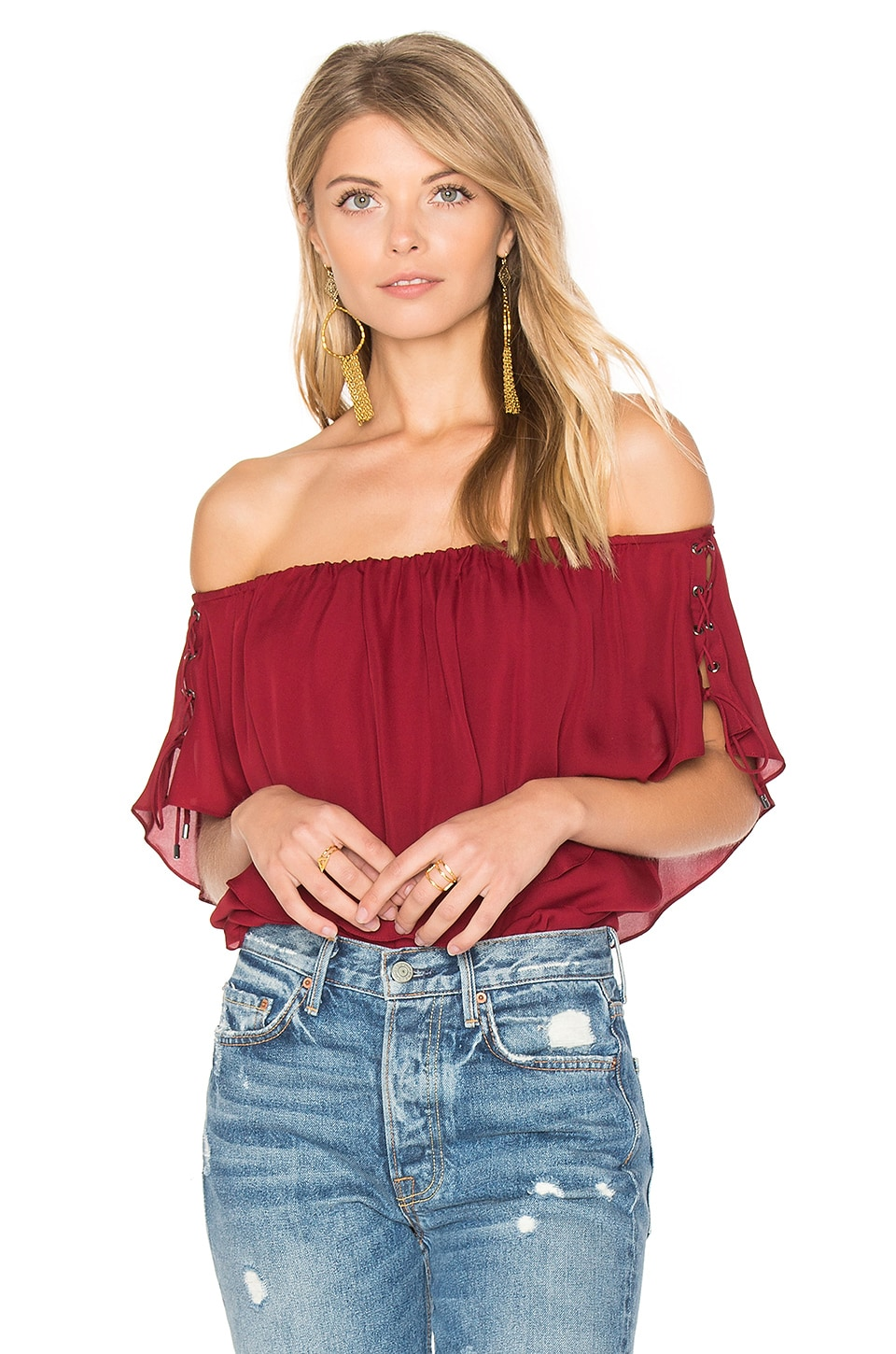 Haute Hippie Ruffle Tie Top in Crimson