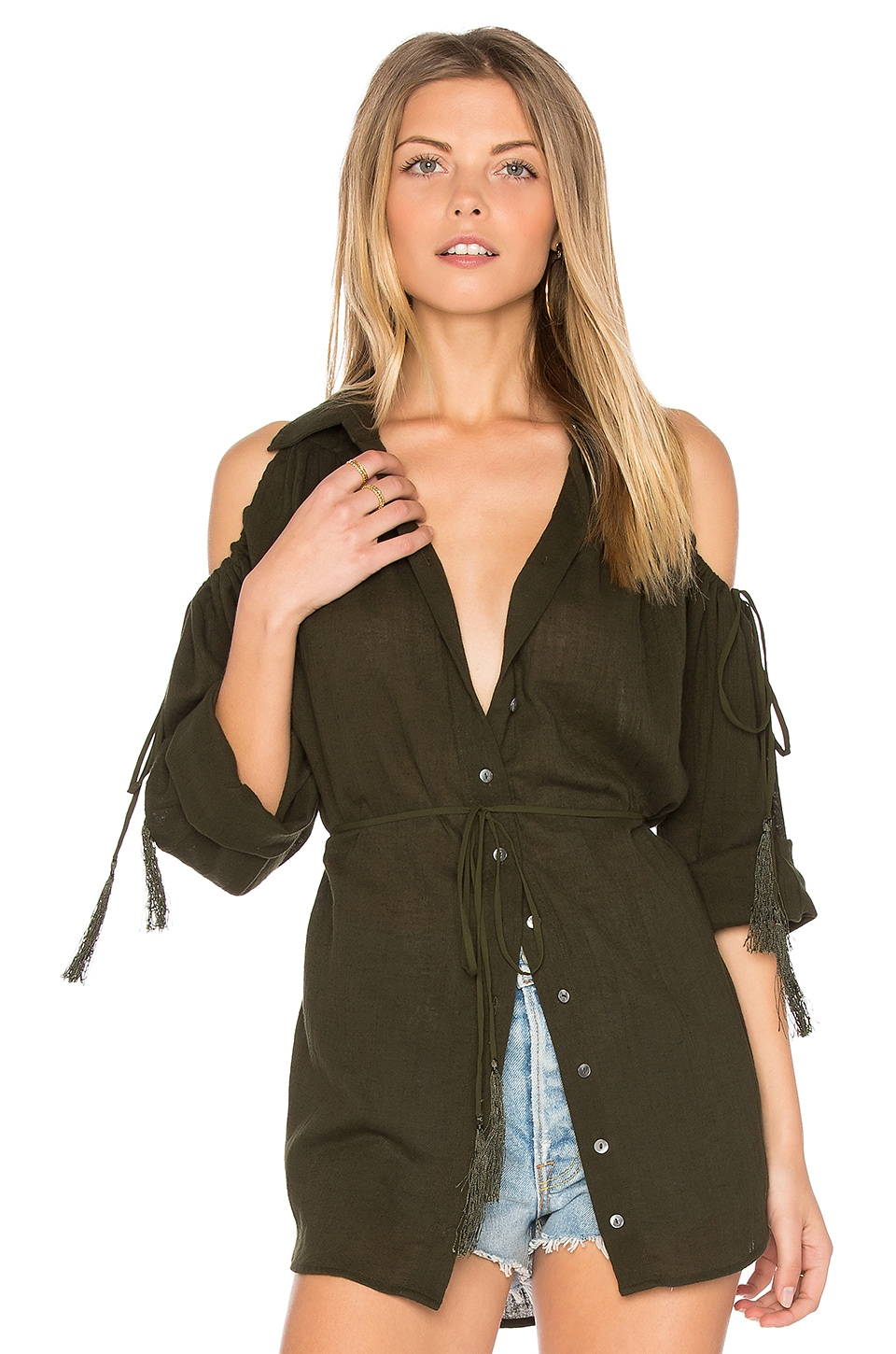 Haute Hippie Great Heights Tunic in Deep Military
