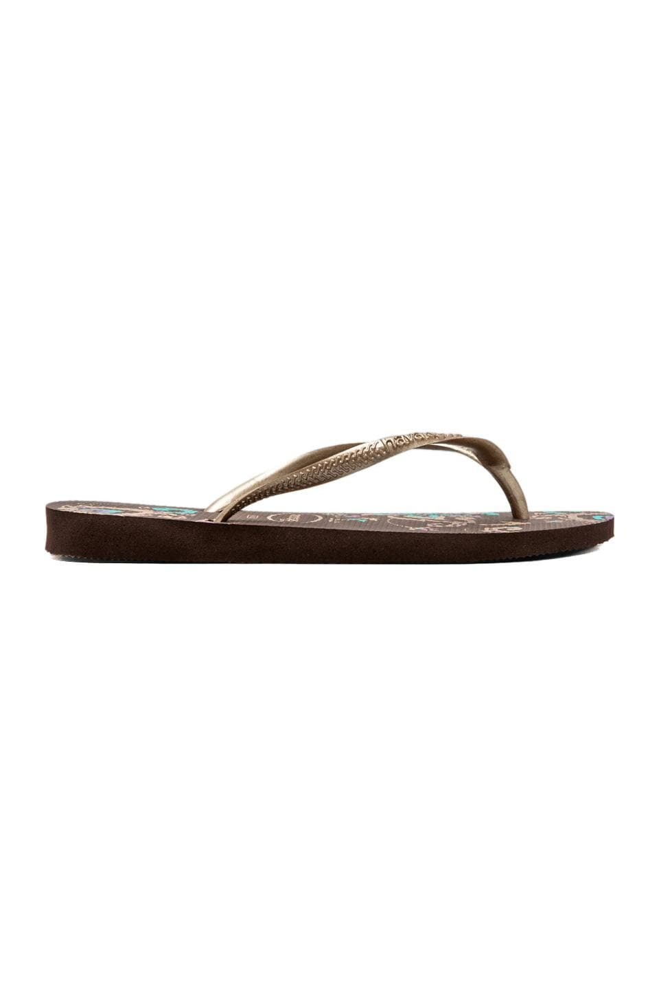 Havaianas Slim Season in Dark Brown/Golden