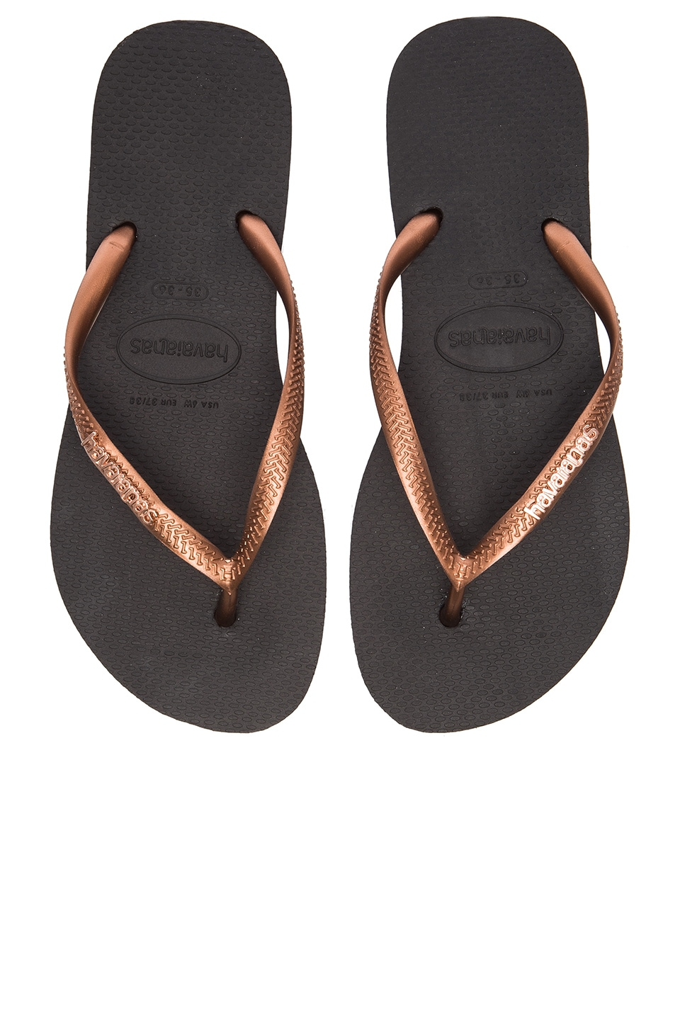57c8a577d6a32b Havaianas Slim Logo Metallic Flip Flop in Black   Copper