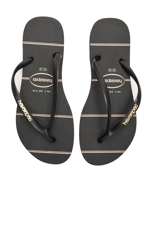 Havaianas Slim Logo Metallic Fine Lines Sandal in Black