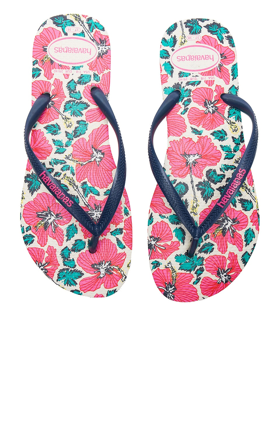 Havaianas Slim Floral Sandal in White & Blue