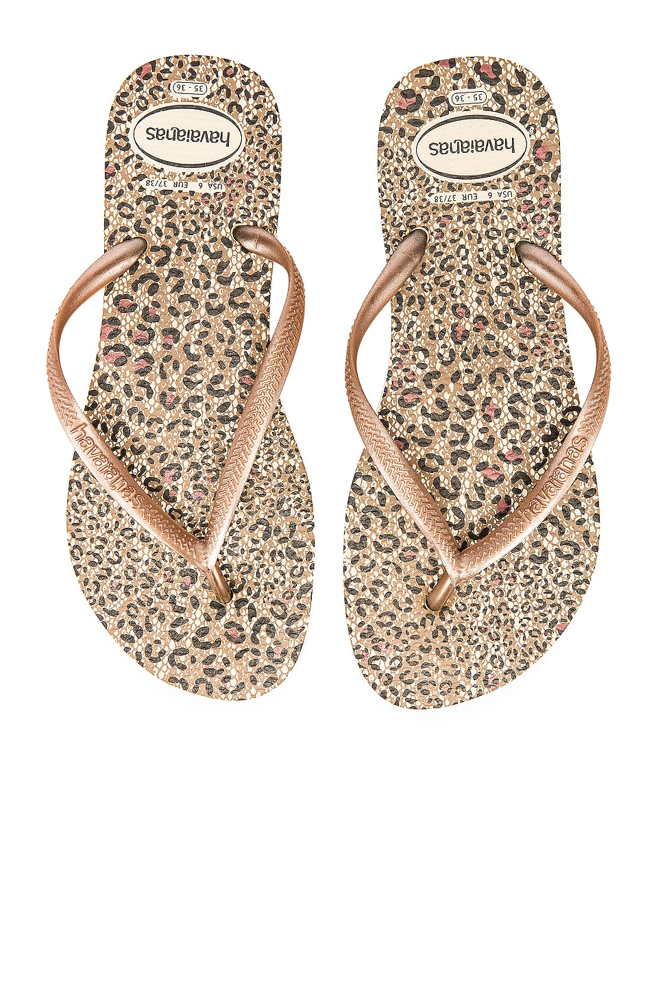 Havaianas Slim Animals Sandal in Beige & Rose Gold