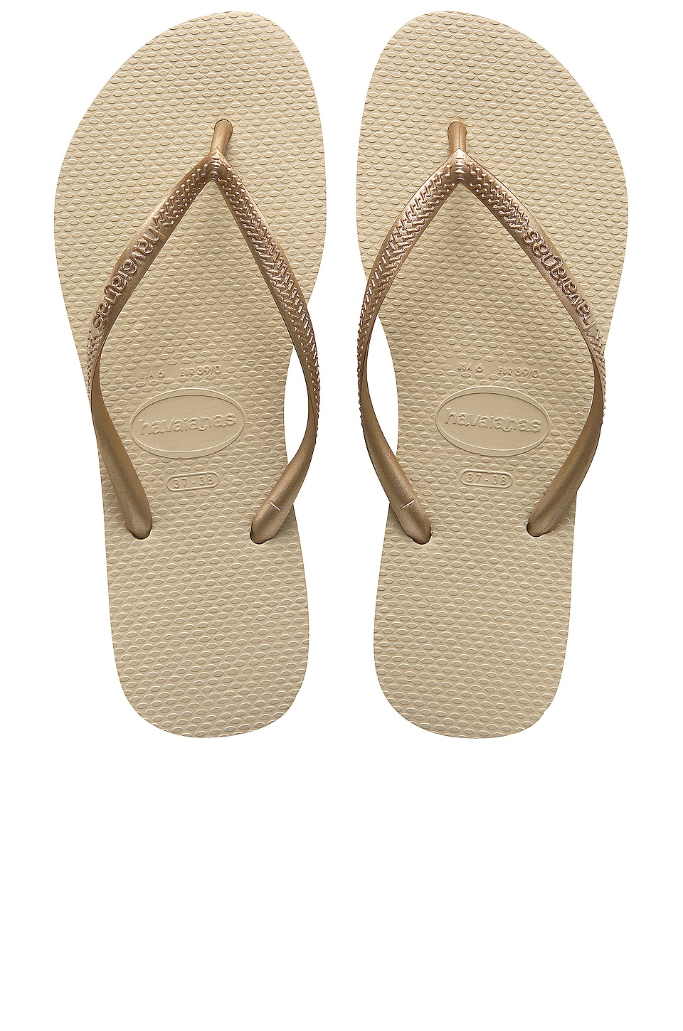 Havaianas Slim Flip Flop in Sand Grey & Light Golden