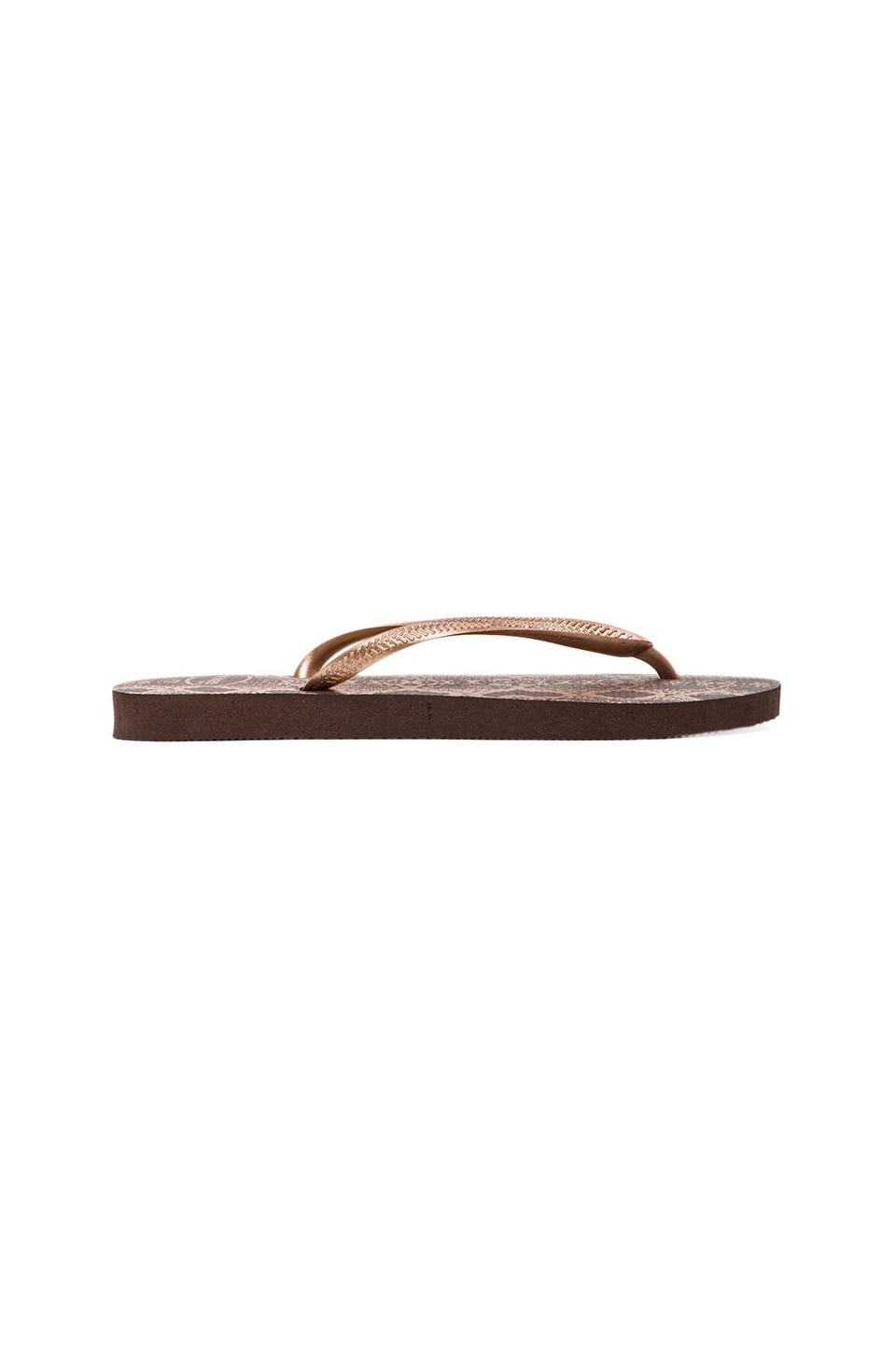 Havaianas Slim Animals Flip Flop in Dark Brown/Golden Sun