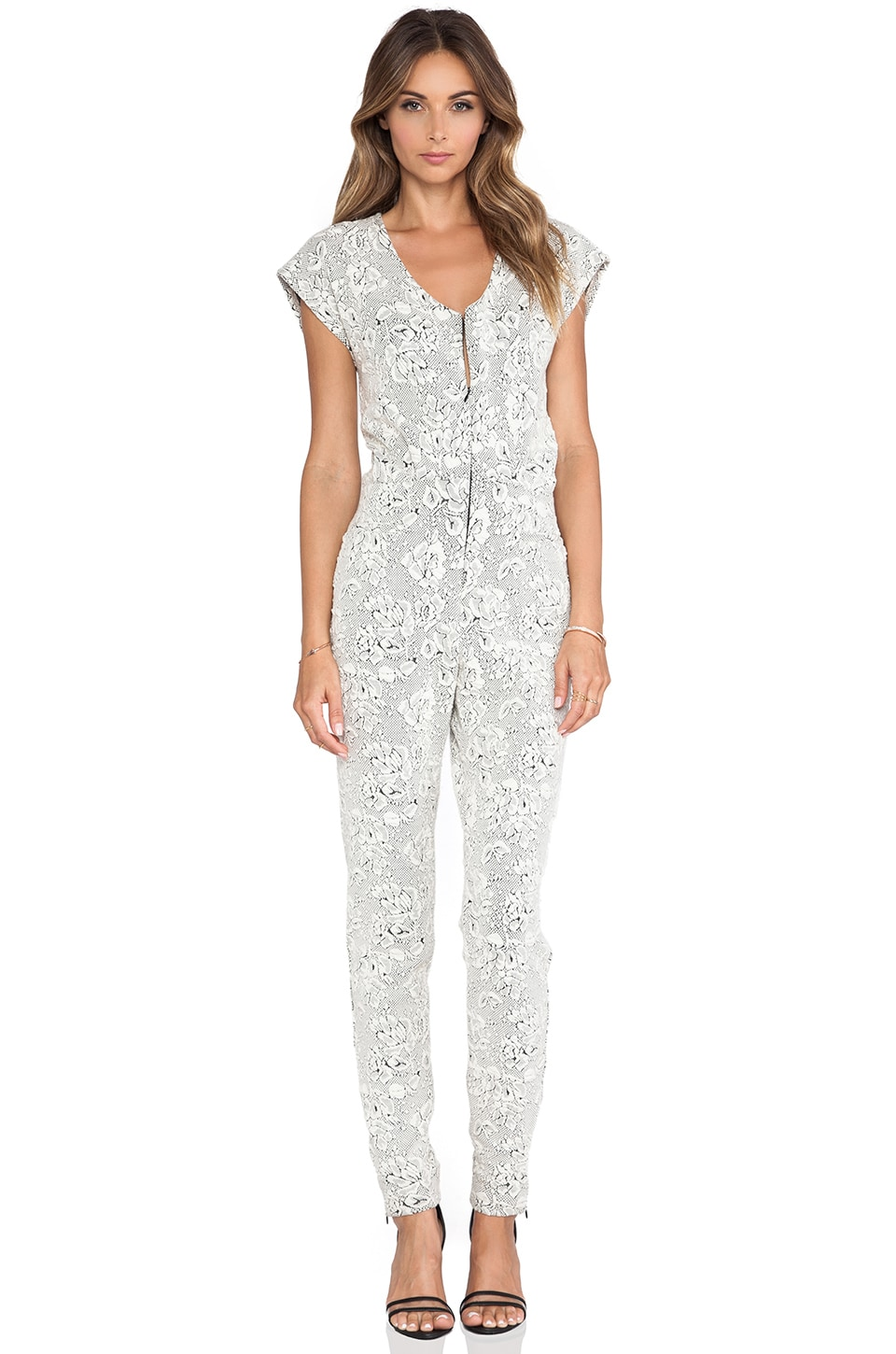 Hunter Bell Justine Jumpsuit in White Floral