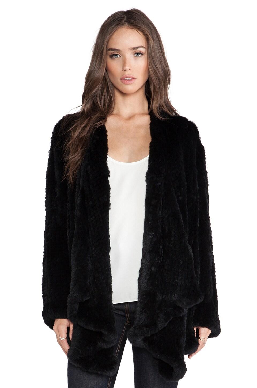 H Brand Ashleigh Rabbit Fur Coat in Black