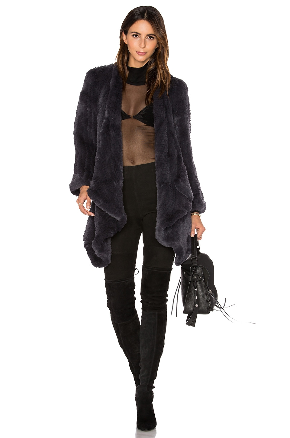 Hand Knitted Rabbit Fur Coat by H Brand